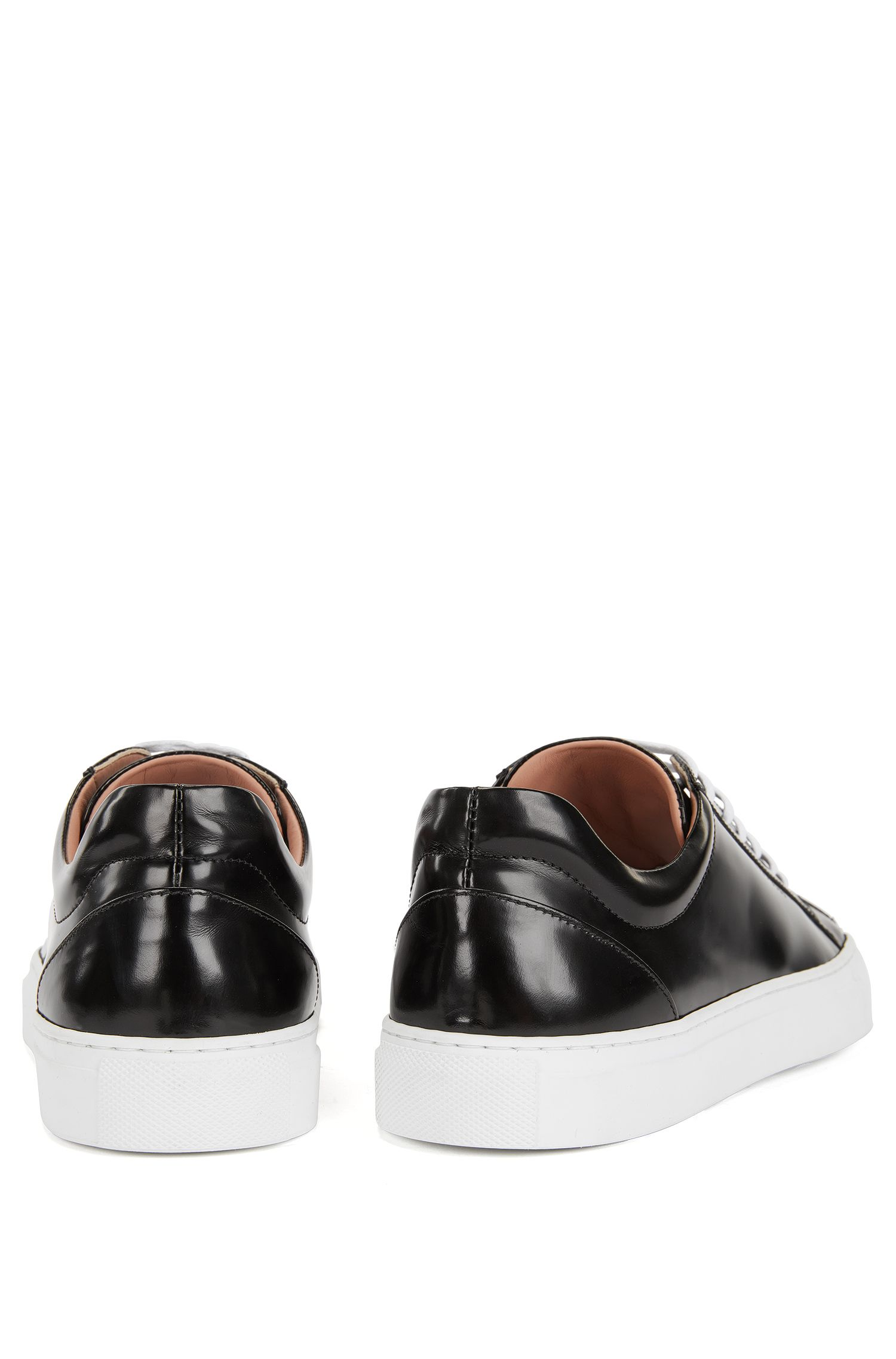 Sneakers low-top in pelle spazzolata, Nero