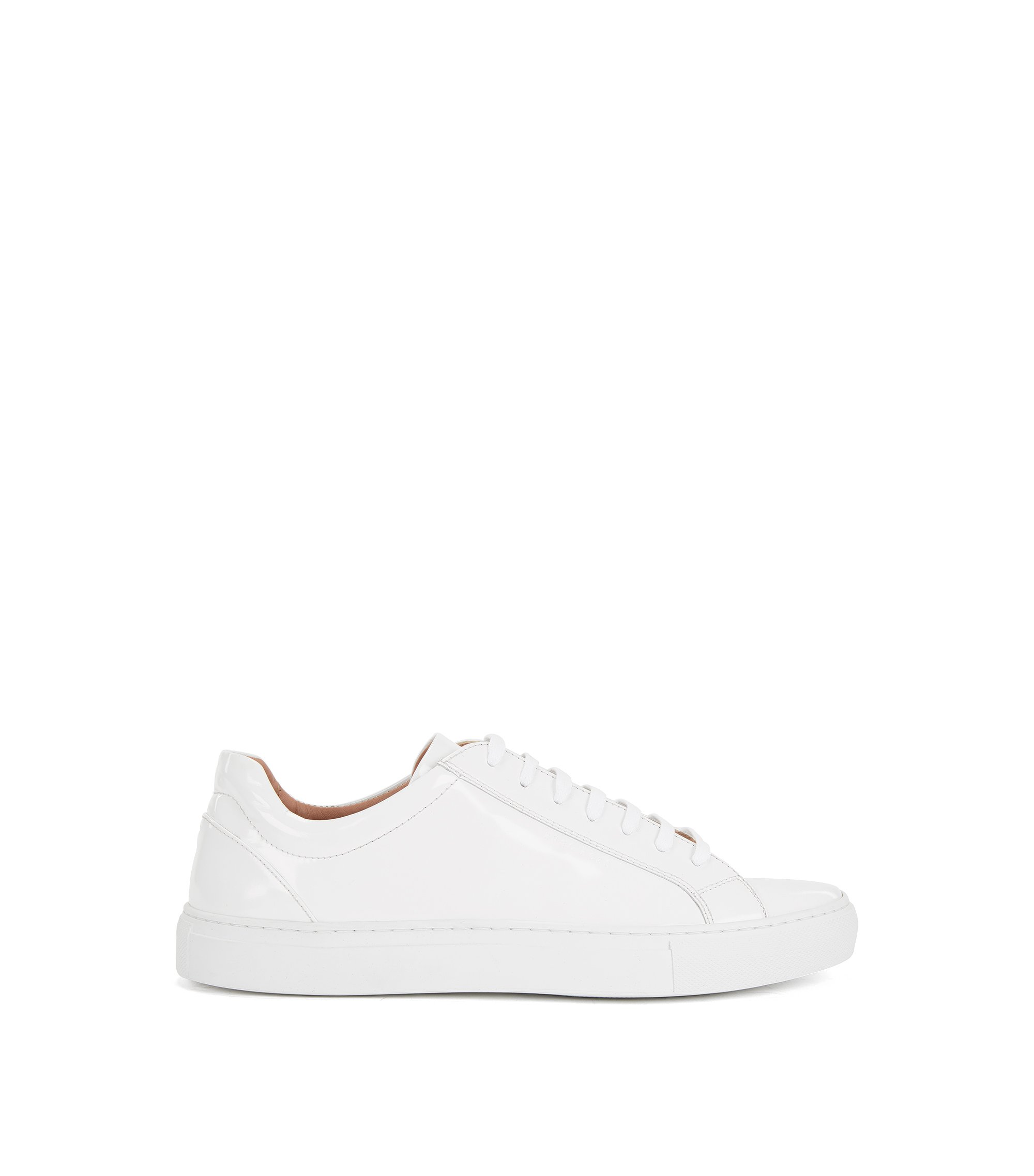 Low-top trainers in brush-off leather, White