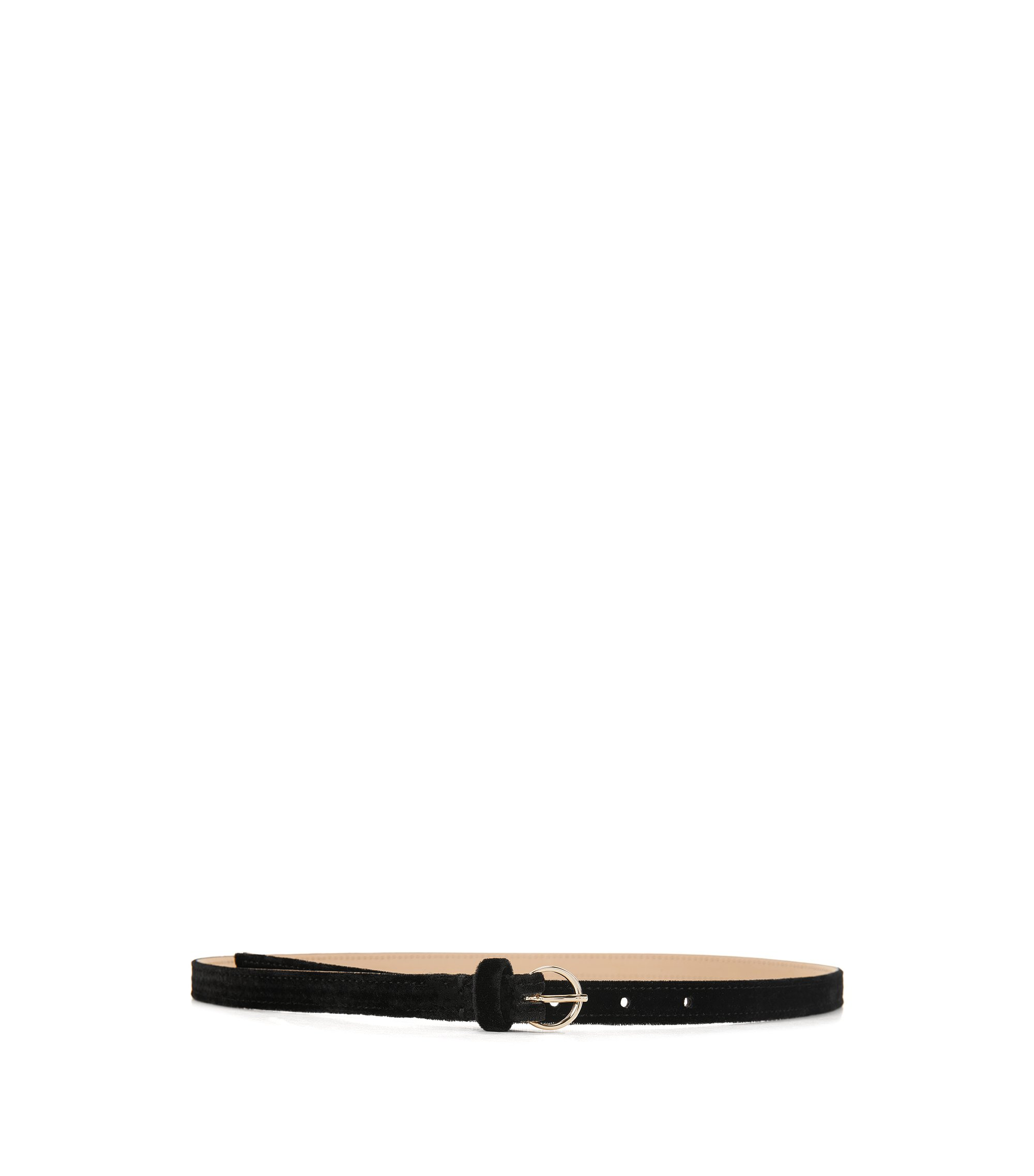 Velvet belt with round buckle, Black
