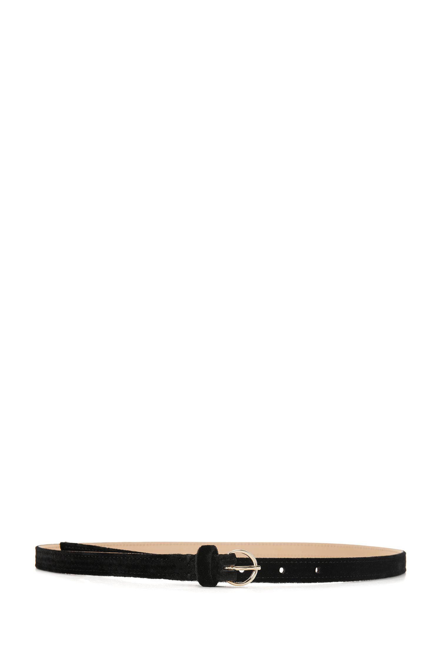 Cinturón de terciopelo con hebilla redonda