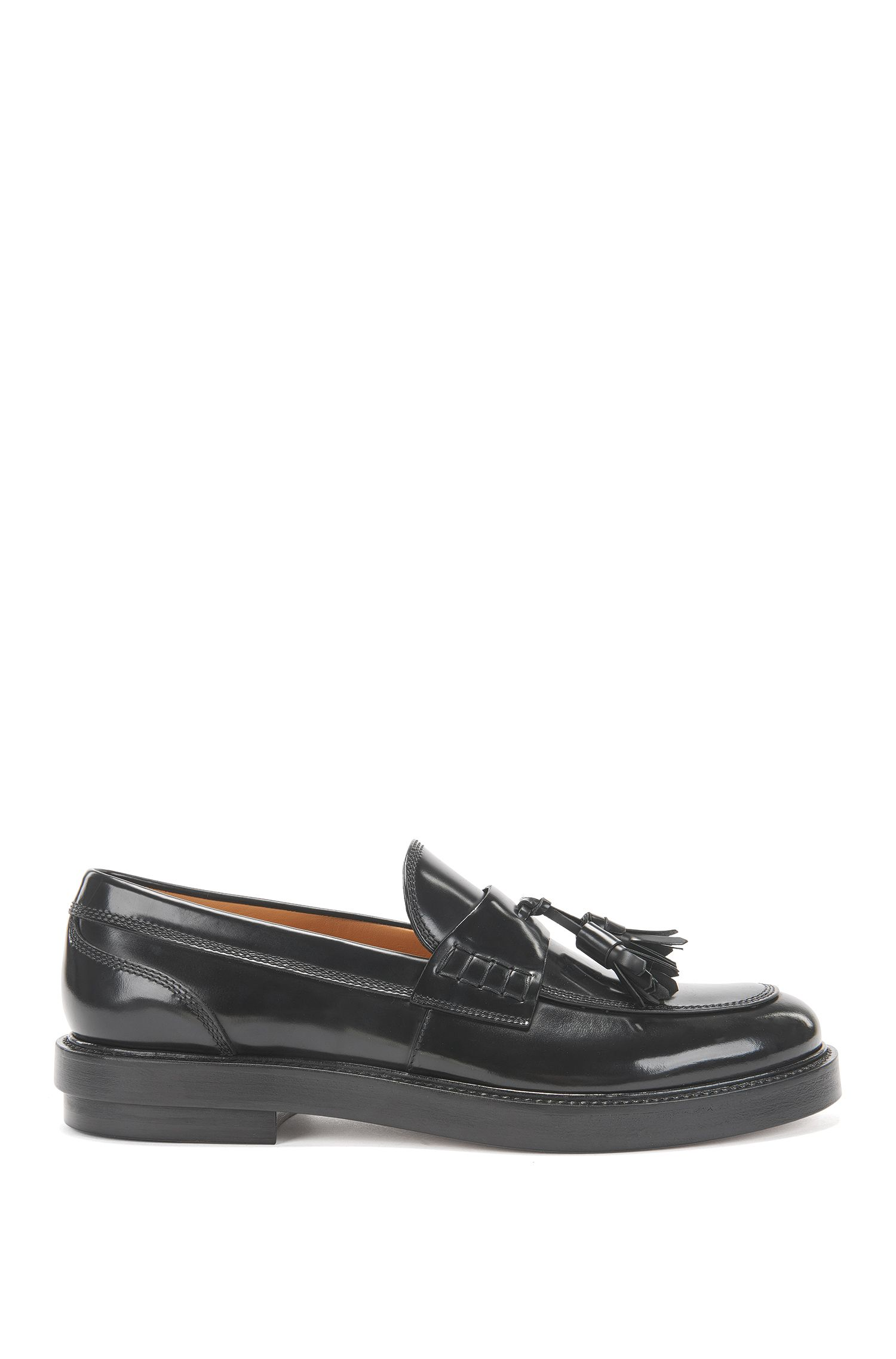 Tassel loafers in brush-off leather