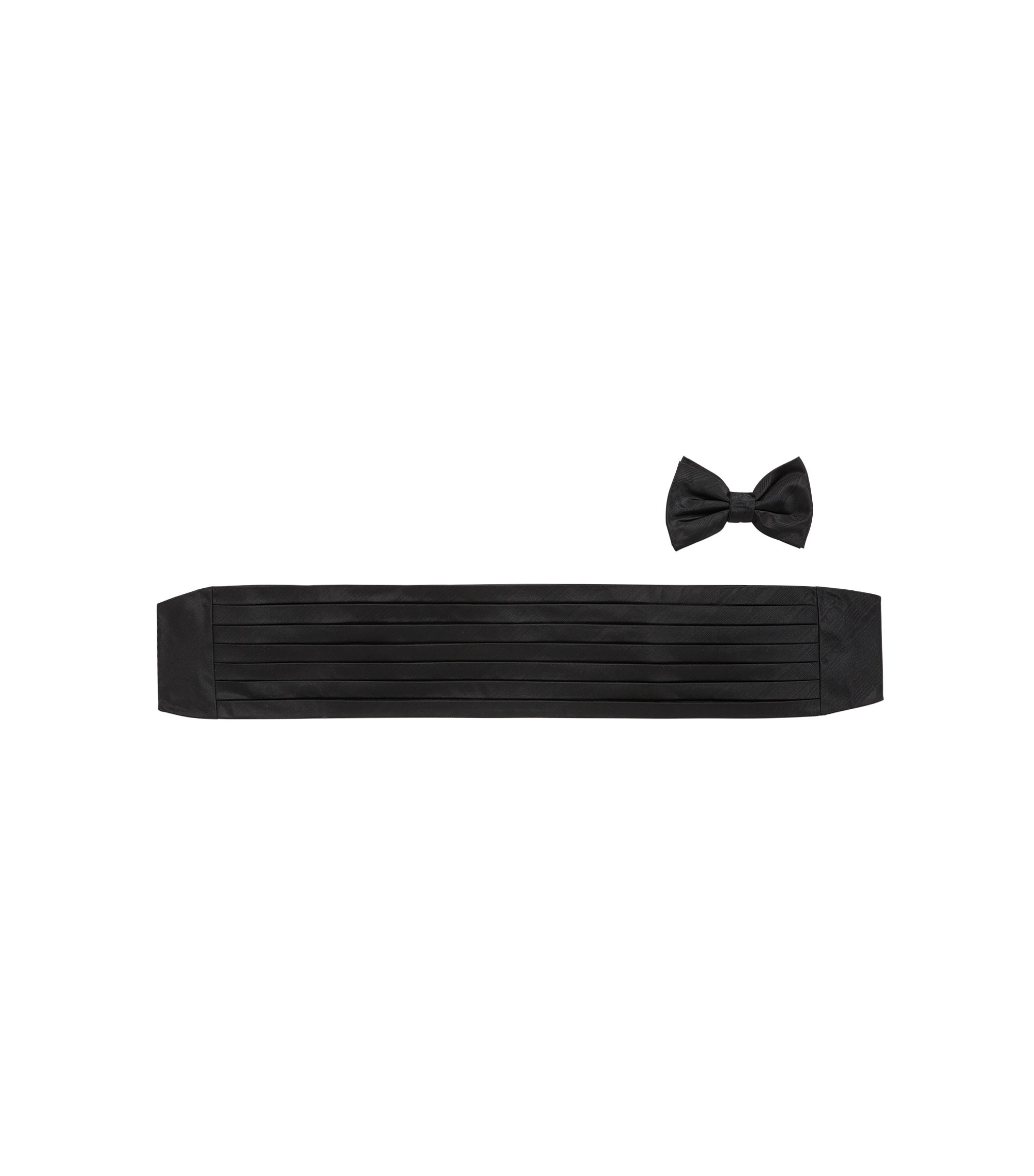 Silk bow tie and cummerbund set with rippled finish, Black