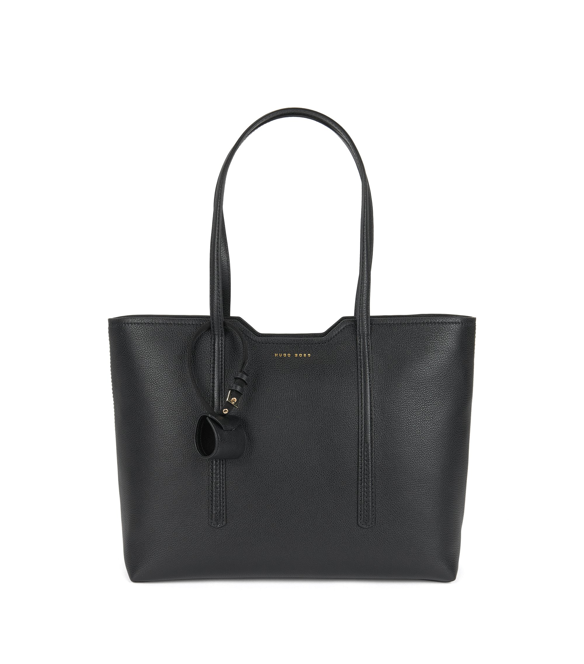 Borsa shopper in pelle italiana, Nero