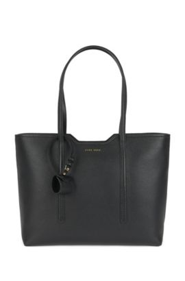 Shopper bag in Italian leather, Black
