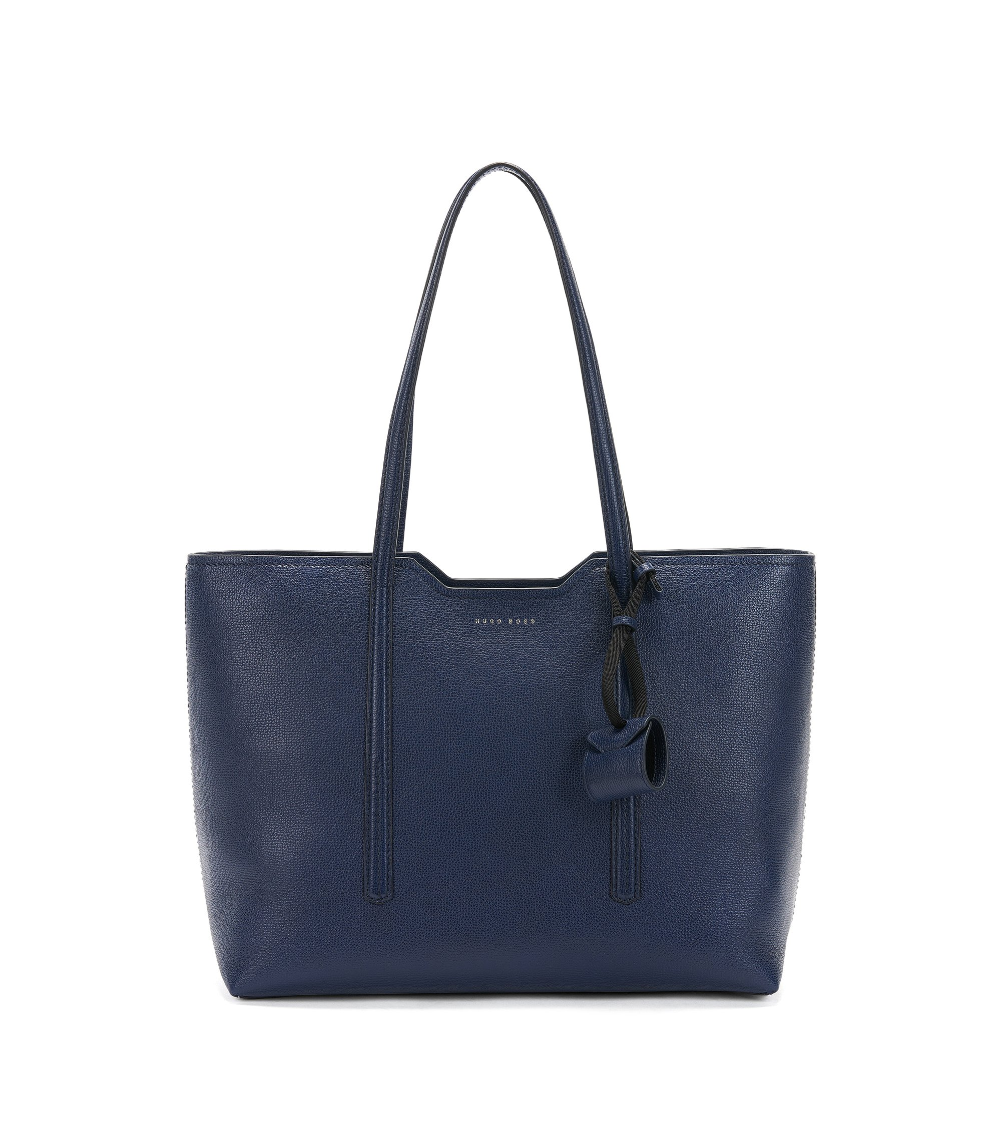 Shopper bag in Italian leather, Blue