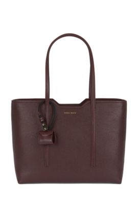 Shopper bag in Italian leather, Dark Red