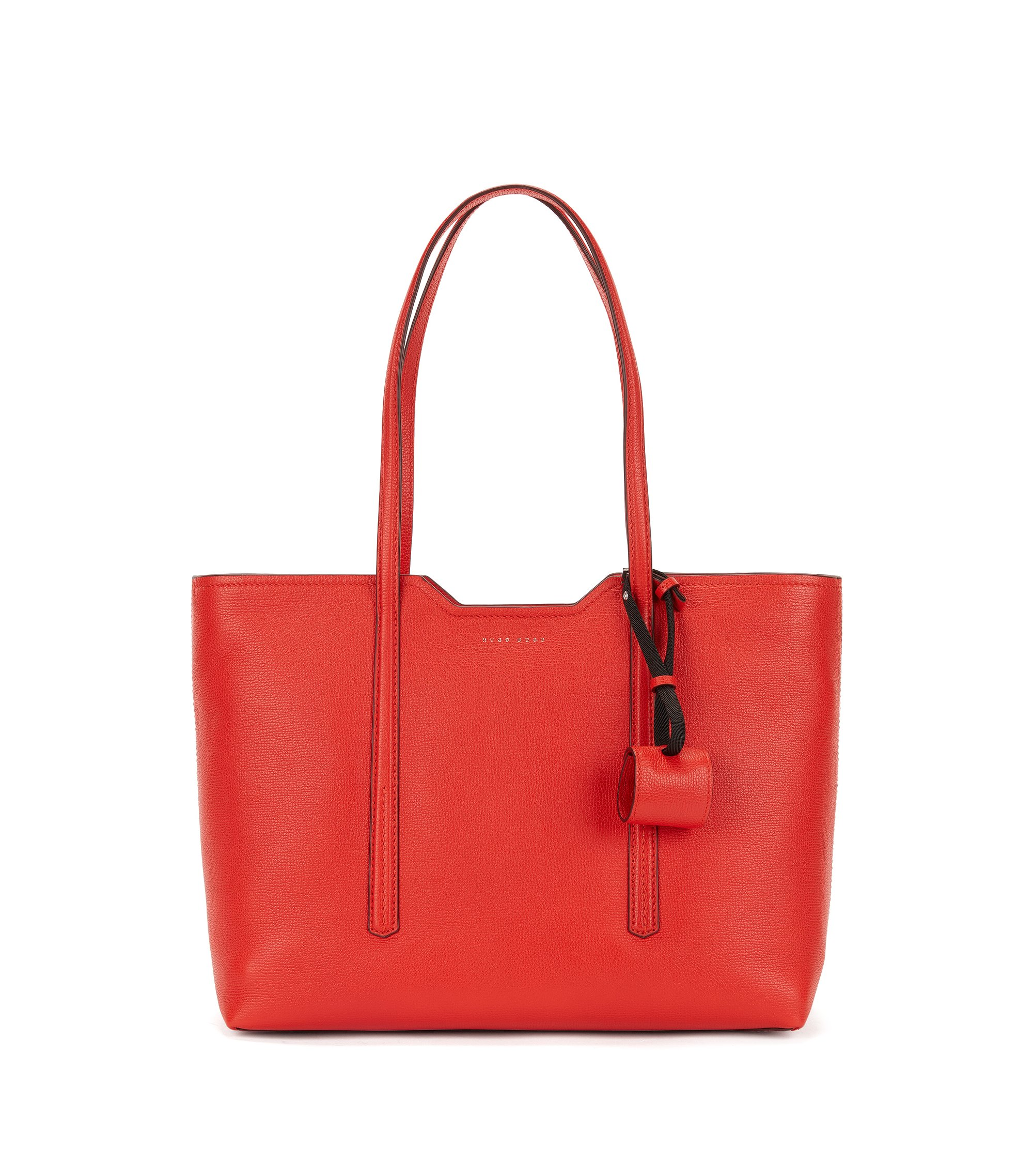 Shopper bag in Italian leather, Red