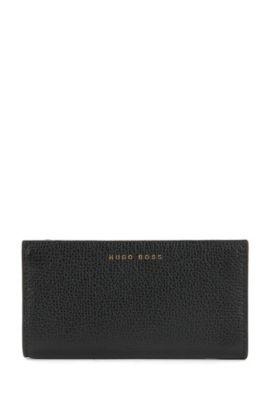 Schlüsseletui aus genarbtem italienischem Leder, Schwarz
