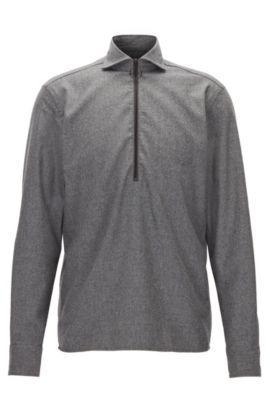 Meliertes Regular-Fit Hemd aus Flanell mit Freizeitkragen und Reißverschluss, Dunkelgrau