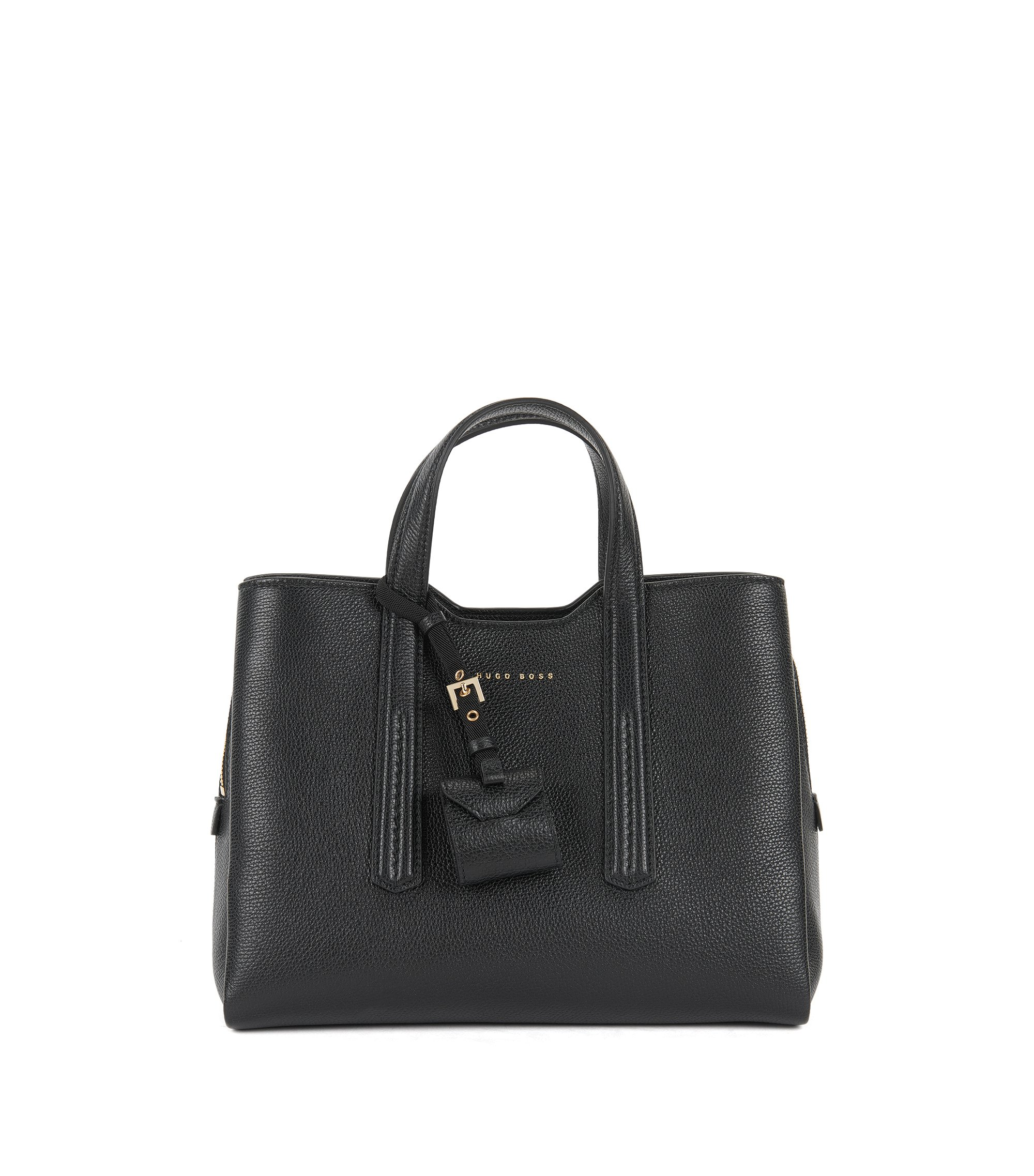 Tote bag in grained Italian leather , Black