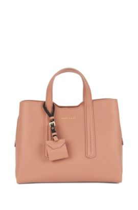 Tote bag in grained Italian leather , Light Beige