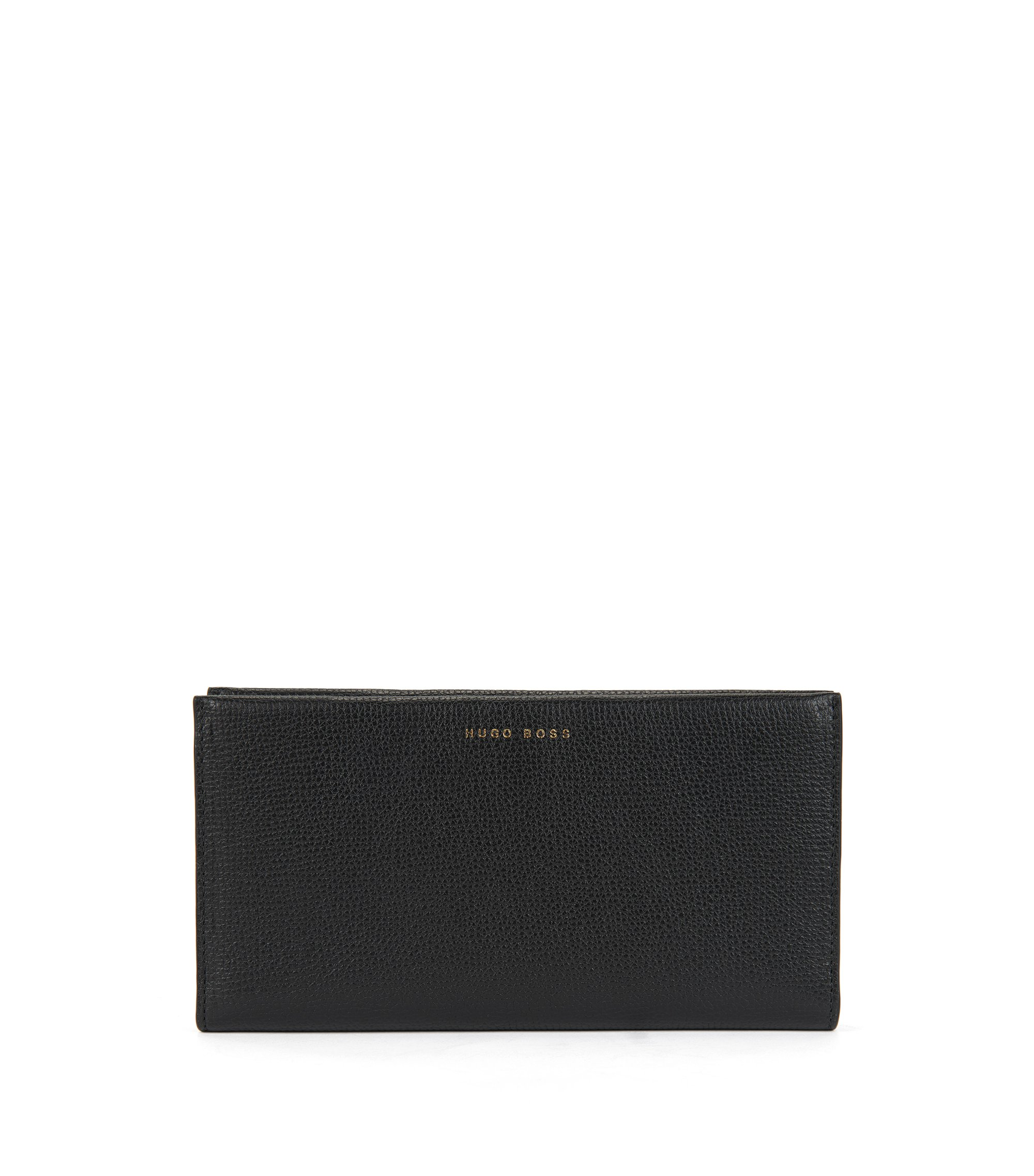 Ziparound wallet in grained calfskin leather, Black