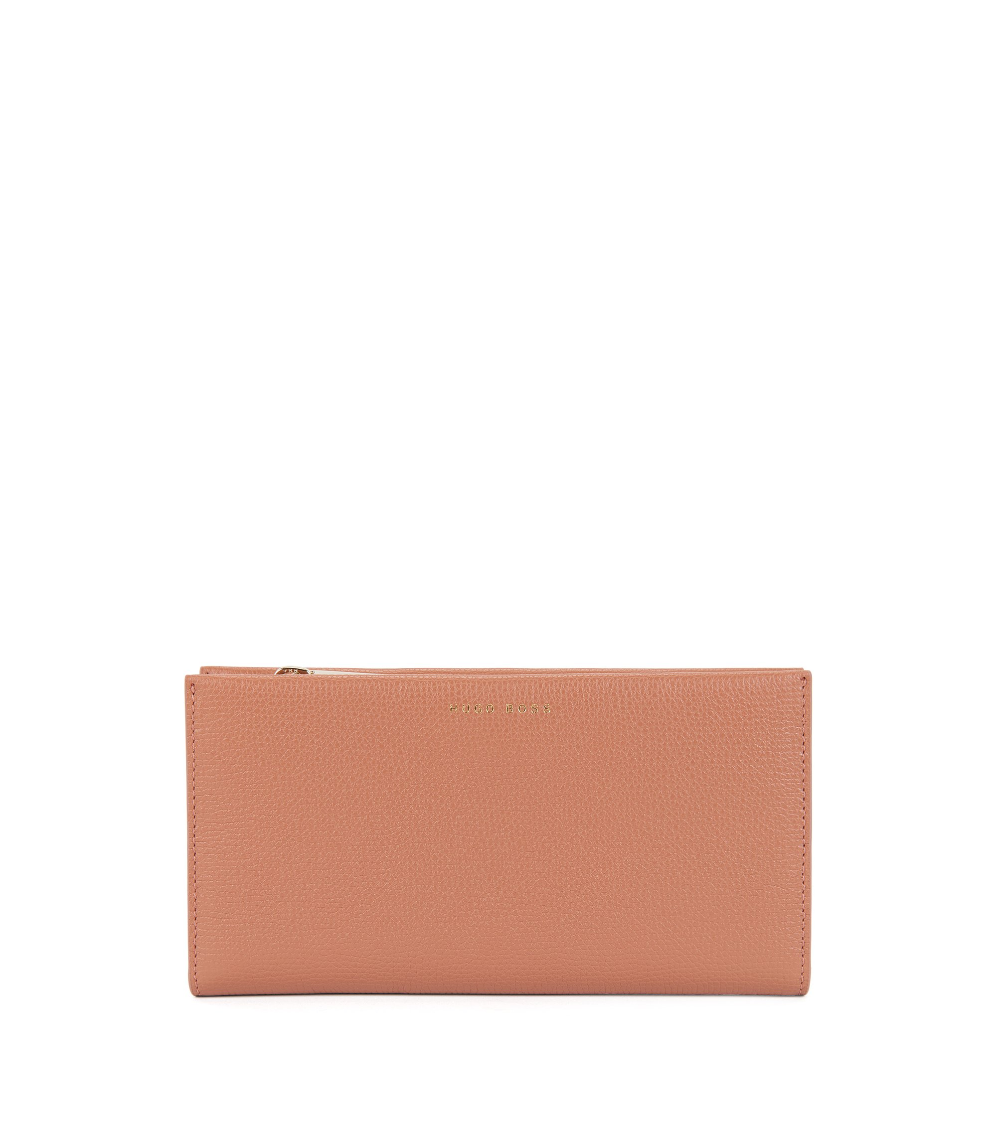 Ziparound wallet in grained calfskin leather, Light Beige