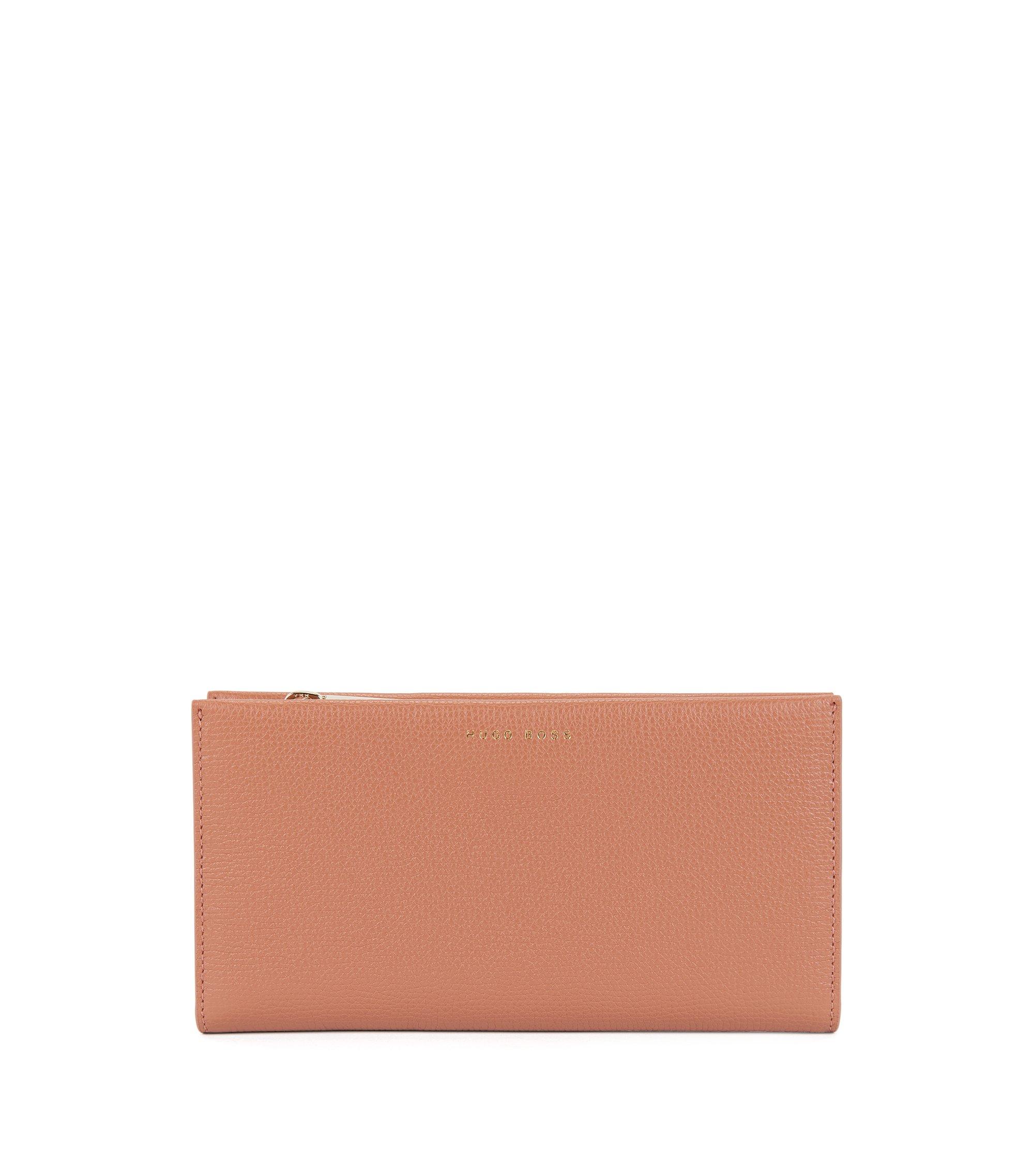 Geldbörse aus genarbtem Leder mit Reißverschluss, Hellbeige