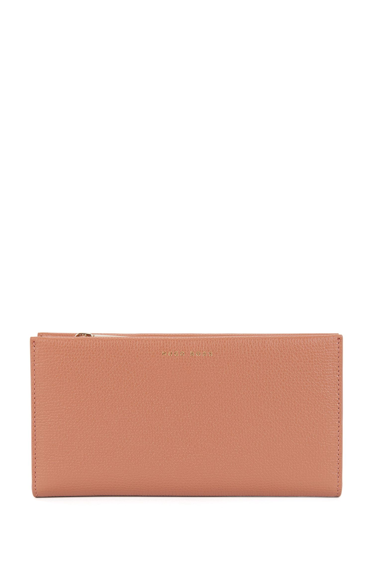 Ziparound wallet in grained calfskin leather