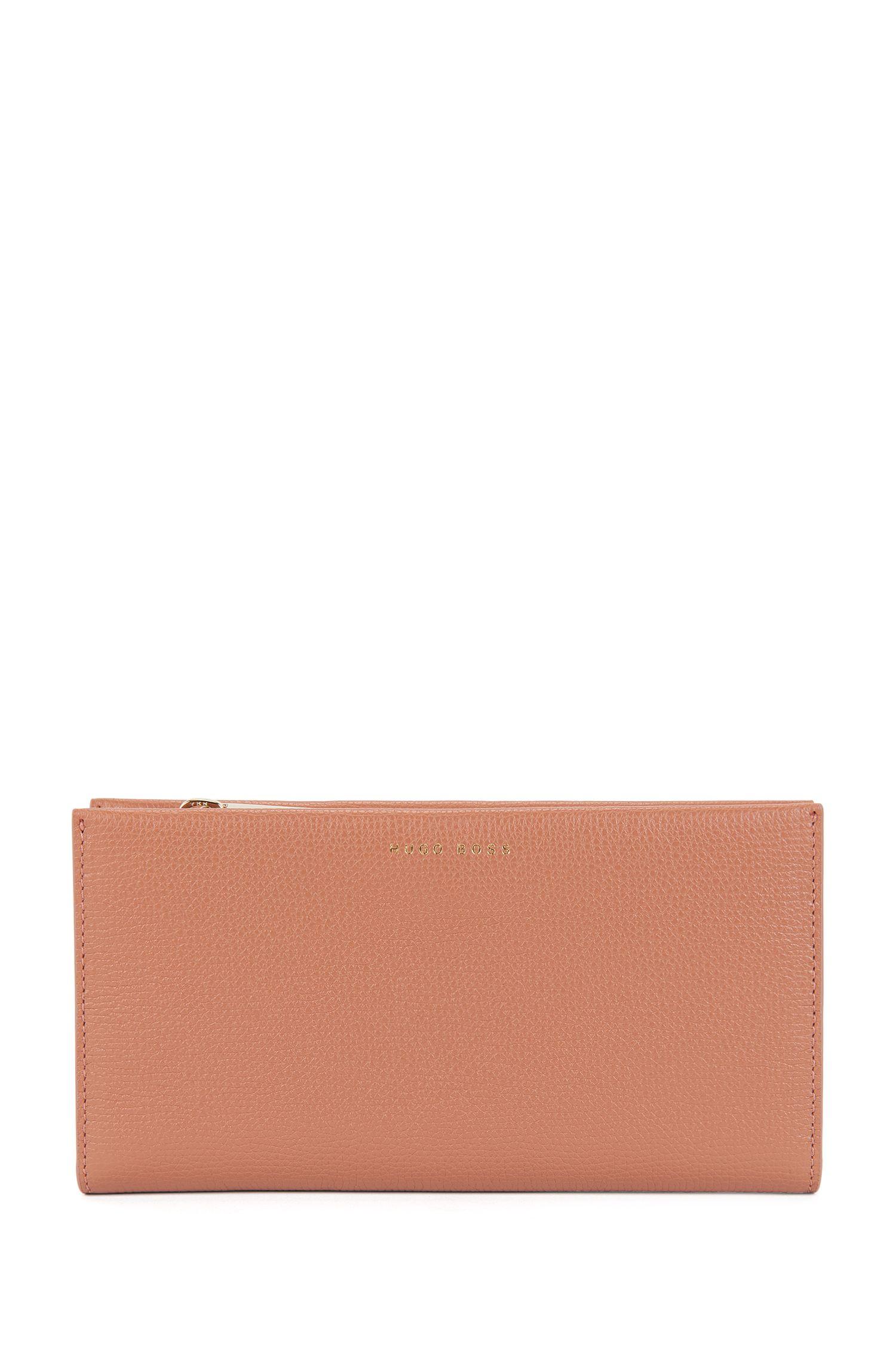 Ziparound wallet in grained calfskin leather