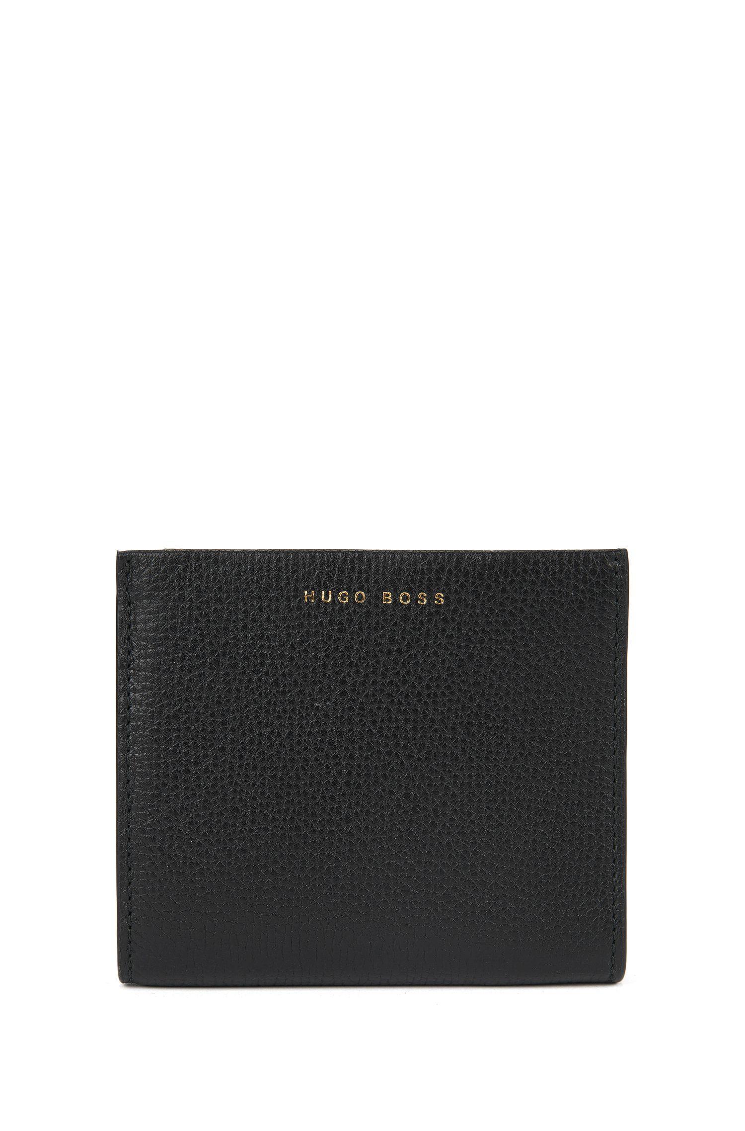 Compacte portemonnee van generfd Italiaans leer, Zwart