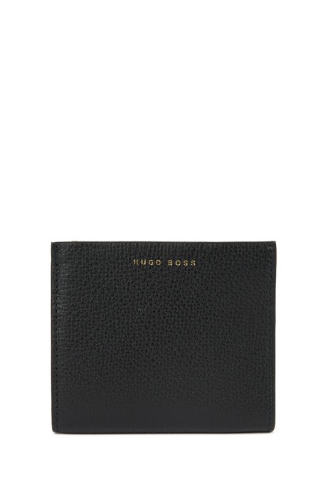 Compact wallet in grained Italian leather, Black