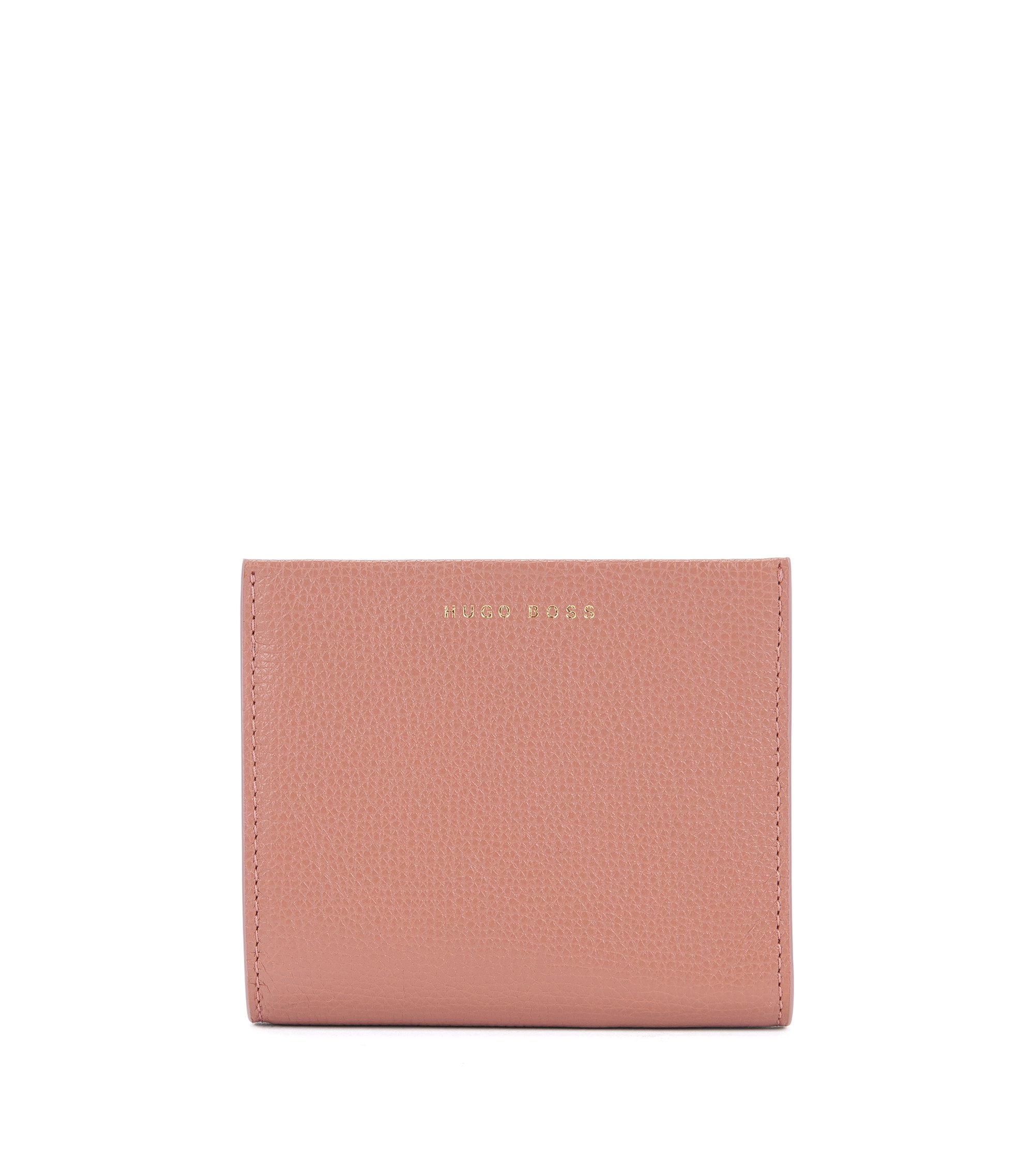 Compact wallet in grained Italian leather, Open Beige