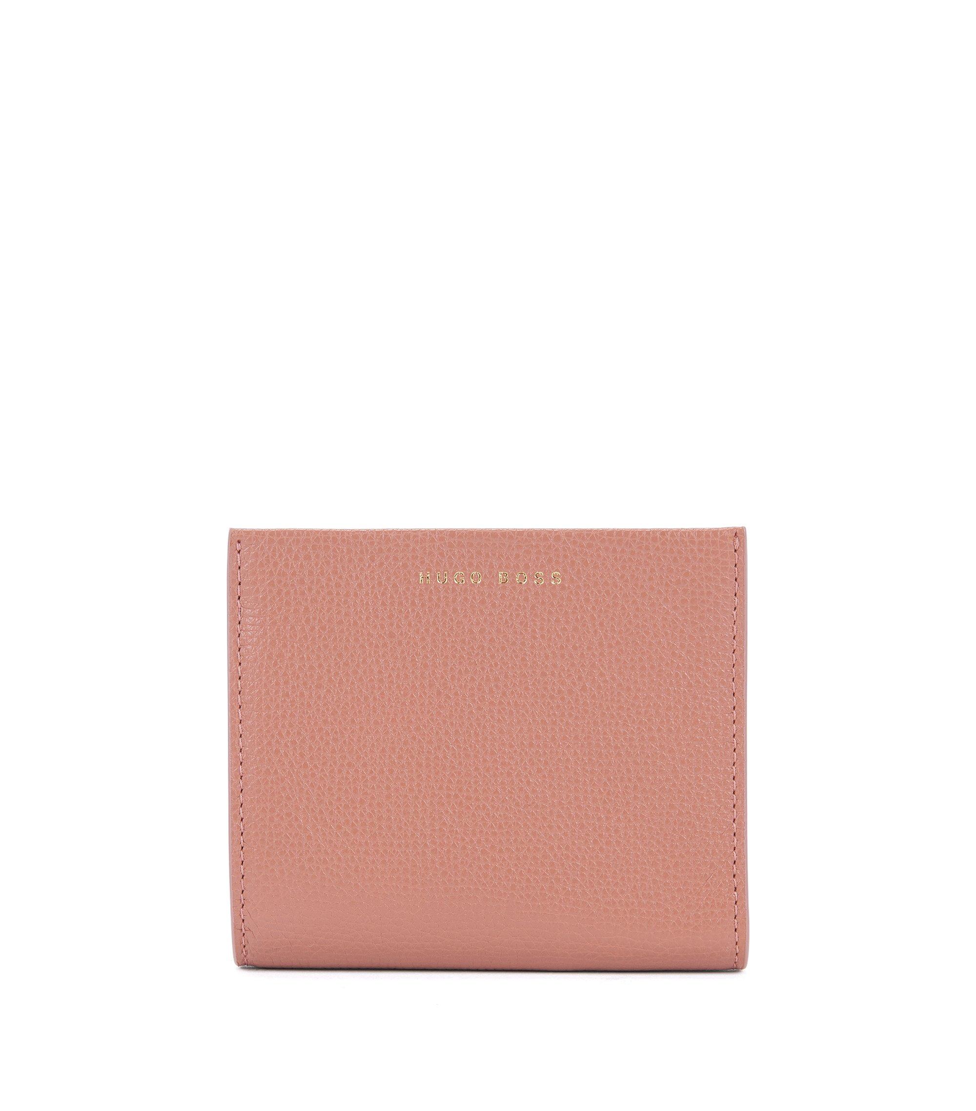 Portefeuille compact en cuir grainé italien, Beige clair