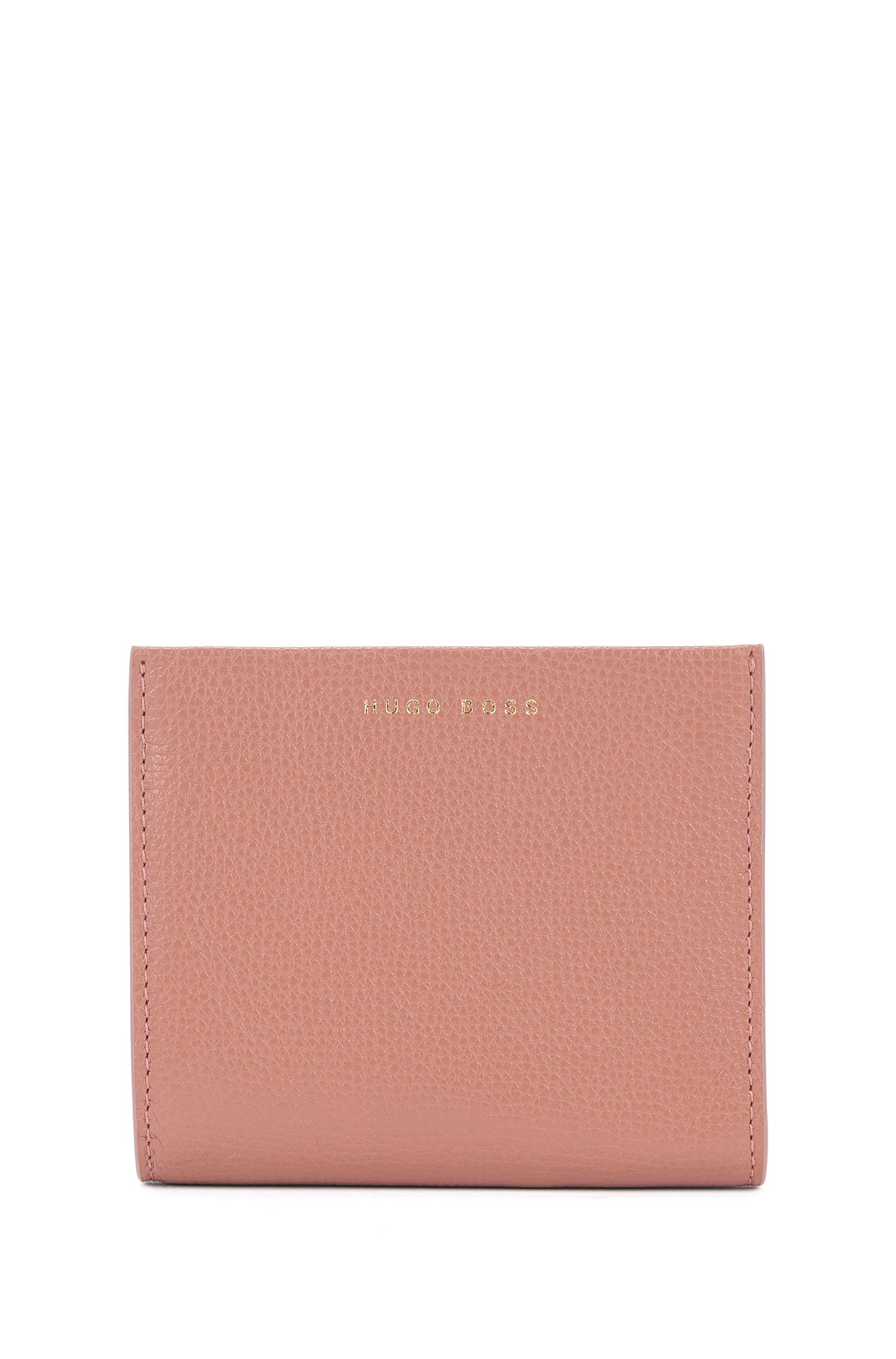 Compact wallet in grained Italian leather