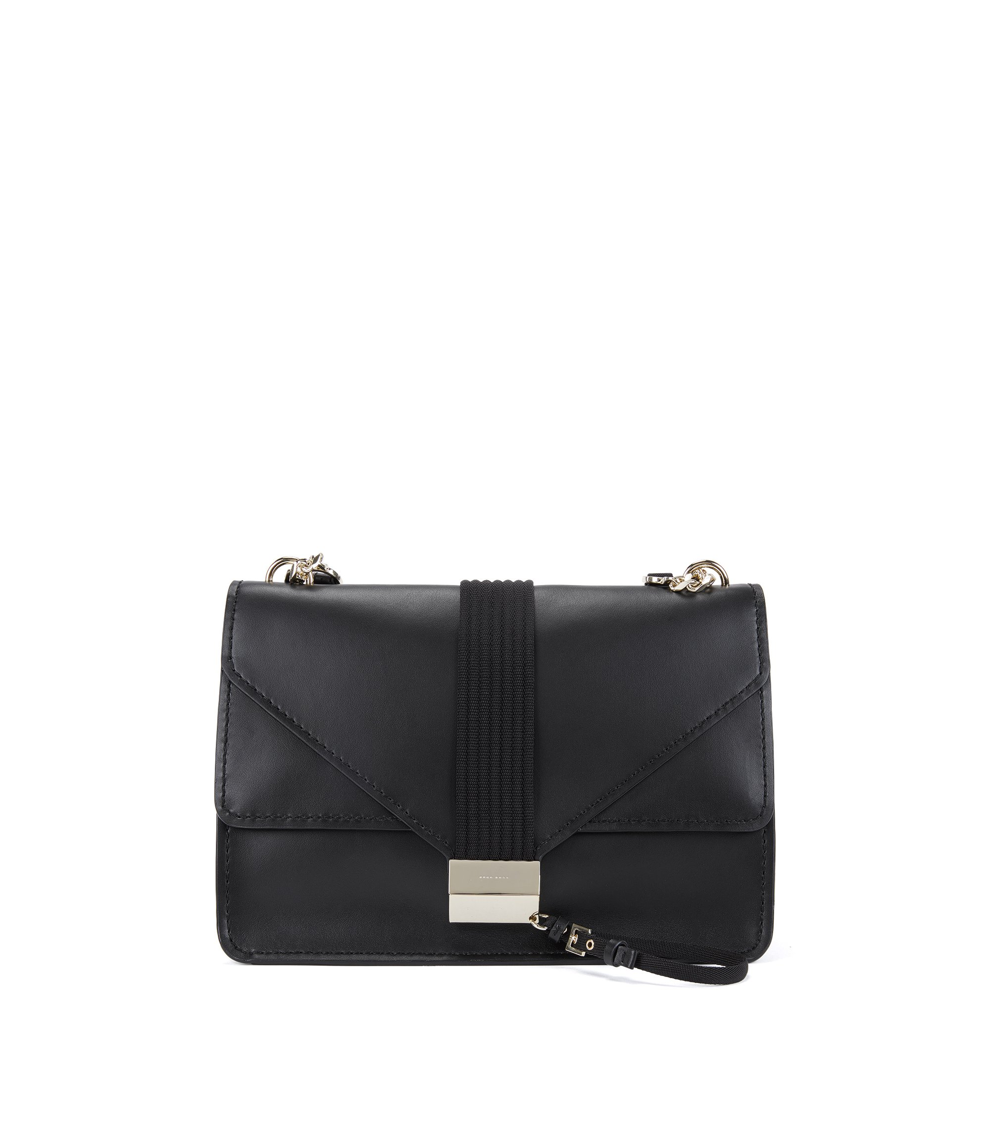 Shoulder bag in smooth Italian leather, Black