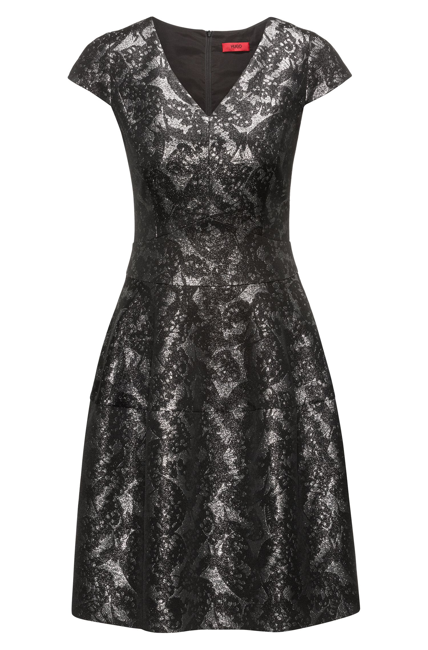 Gemustertes Kleid aus Baumwoll-Mix mit V-Ausschnitt