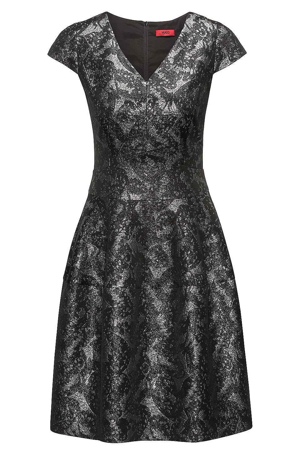 Großhandelspreis Zu Verkaufen Rabatt Sneakernews Gemustertes Kleid aus Baumwoll-Mix mit V-Ausschnitt HUGO BOSS noRXm6Hp6