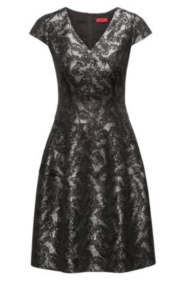 V-neck dress in patterned jacquard, Black
