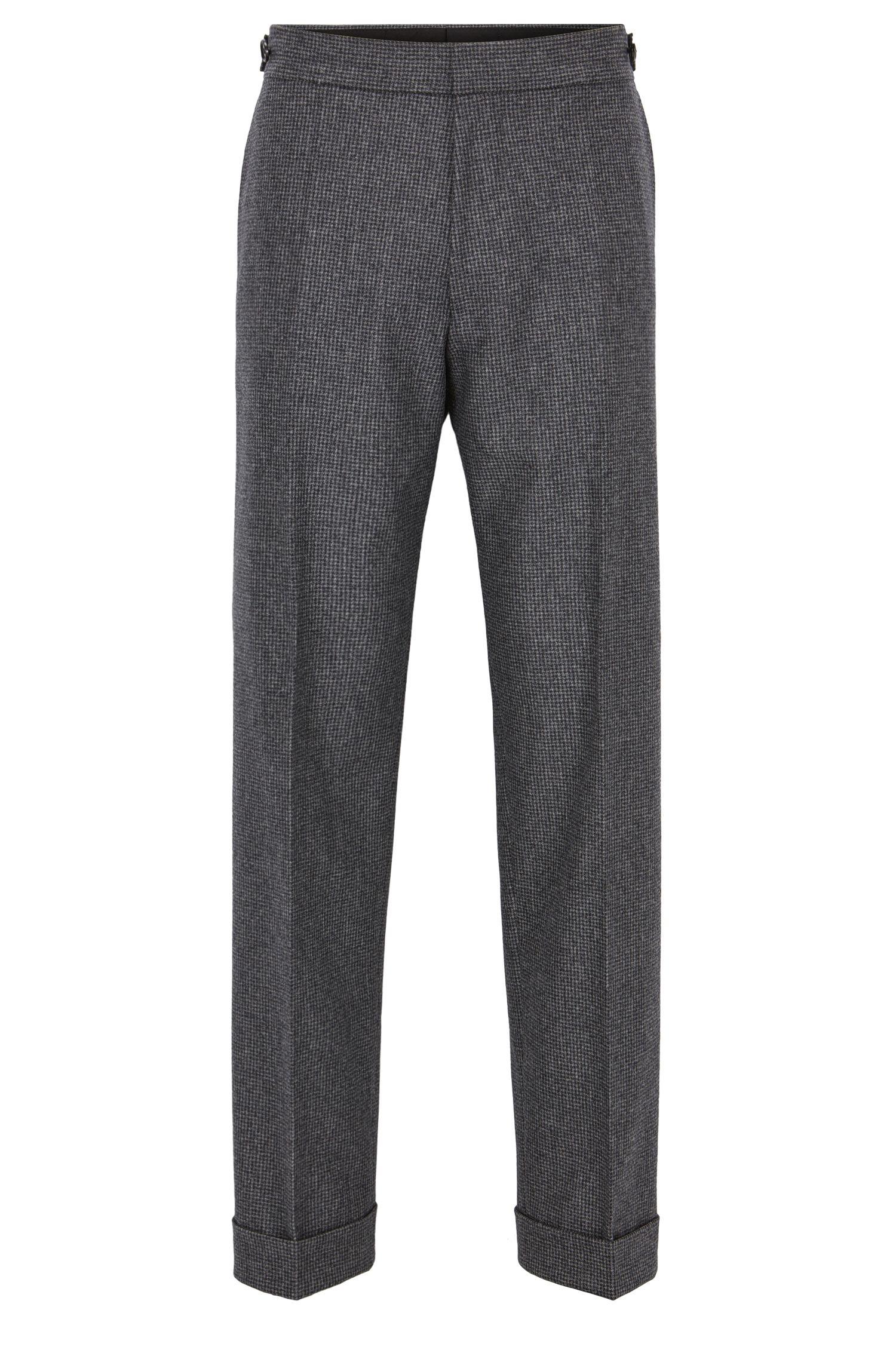 Pantaloni relaxed fit in lana vergine con motivo pied de poule