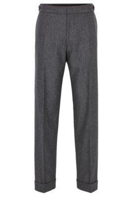 Pantalones relaxed fit en lana virgen con pata de gallo, Gris marengo