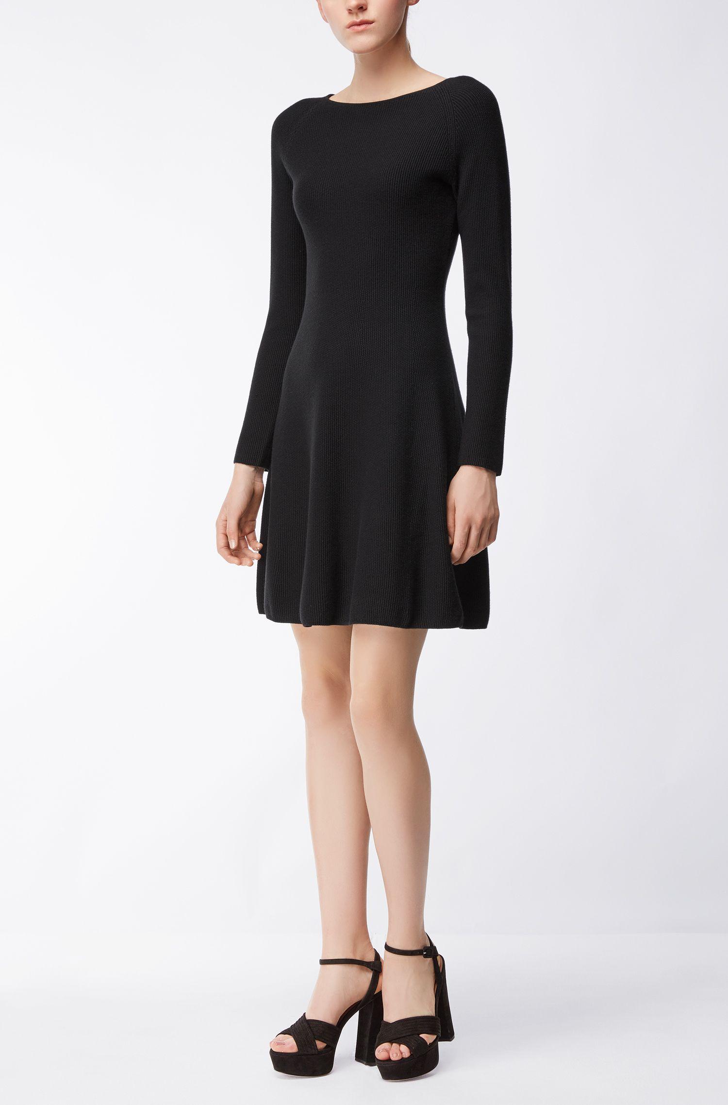 Kleid aus elastischem Baumwoll-Mix mit Kaschmir mit langen Ärmeln