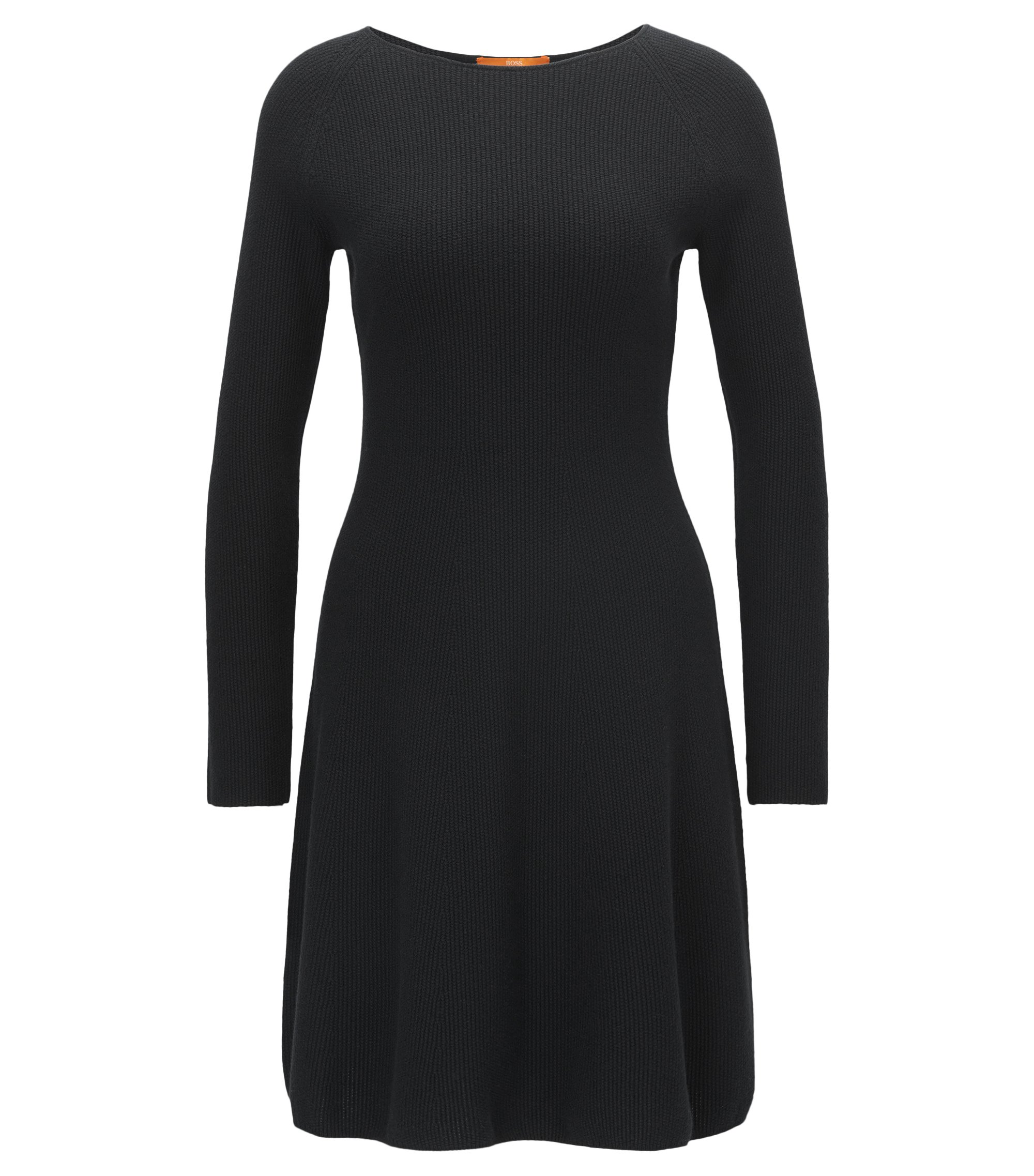Long-sleeved dress in a knitted cotton blend, Black