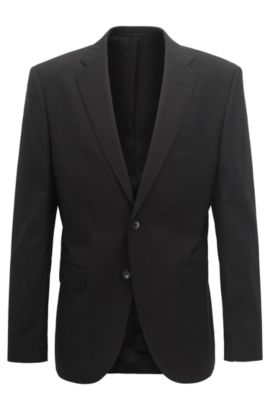 Veste Regular Fit en laine vierge, Noir