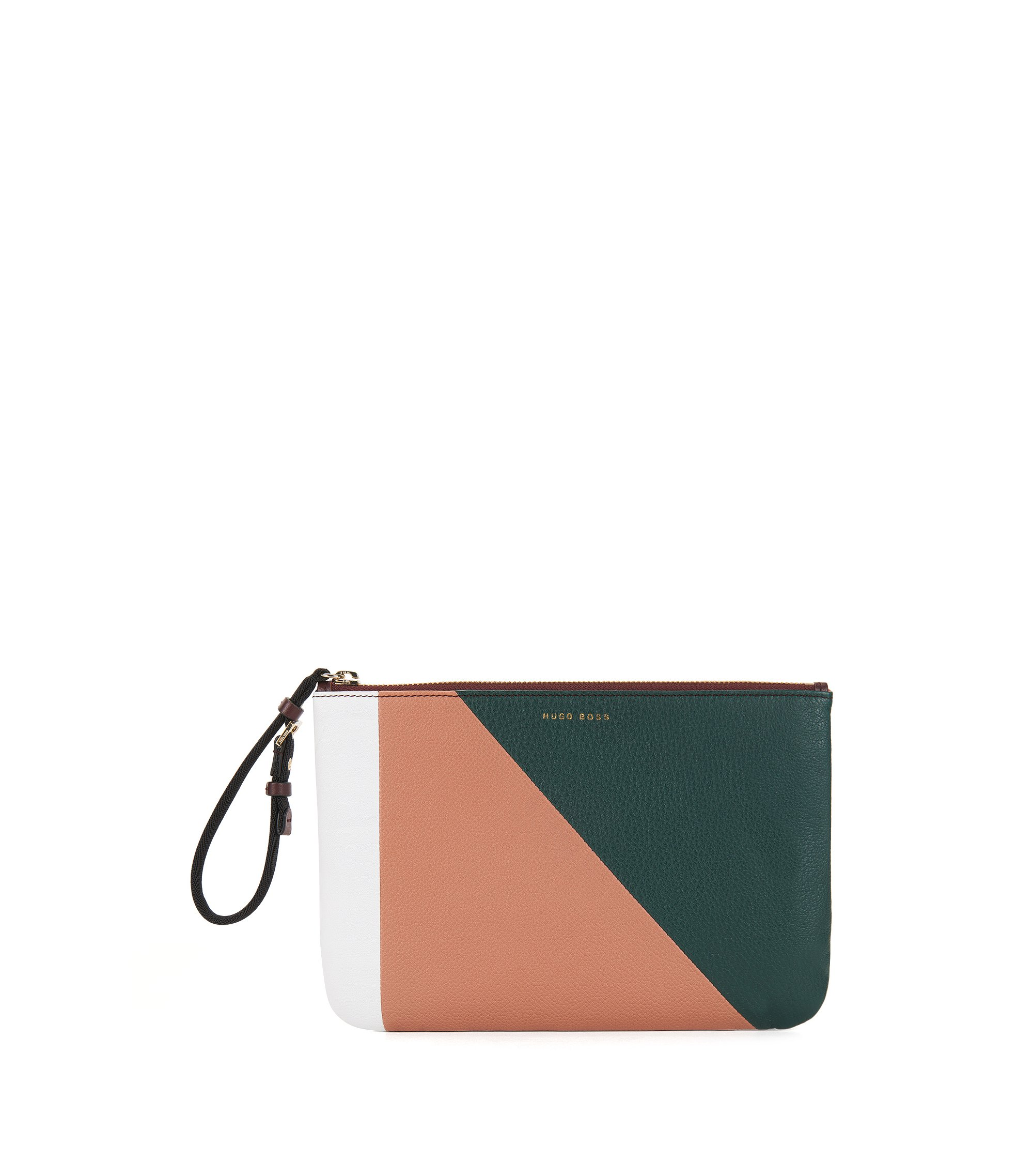 Colourblock pouch in Italian leather, Patterned