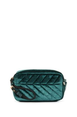 Cross-body bag in Italian velvet, Dark Green