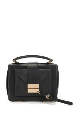 Shoulder bag in mixed Italian leathers, Black