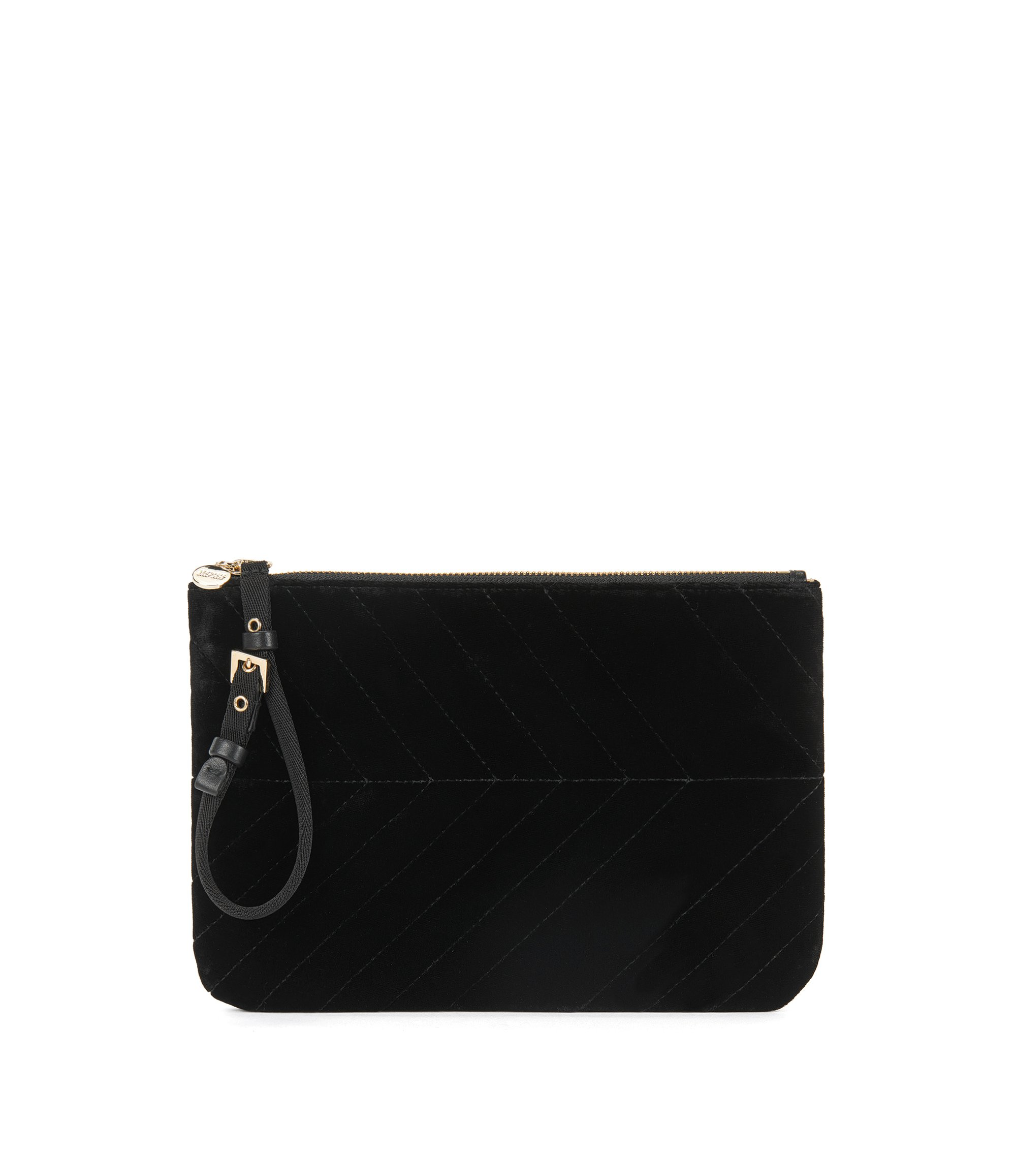 Zip-top pouch in Italian velvet, Black