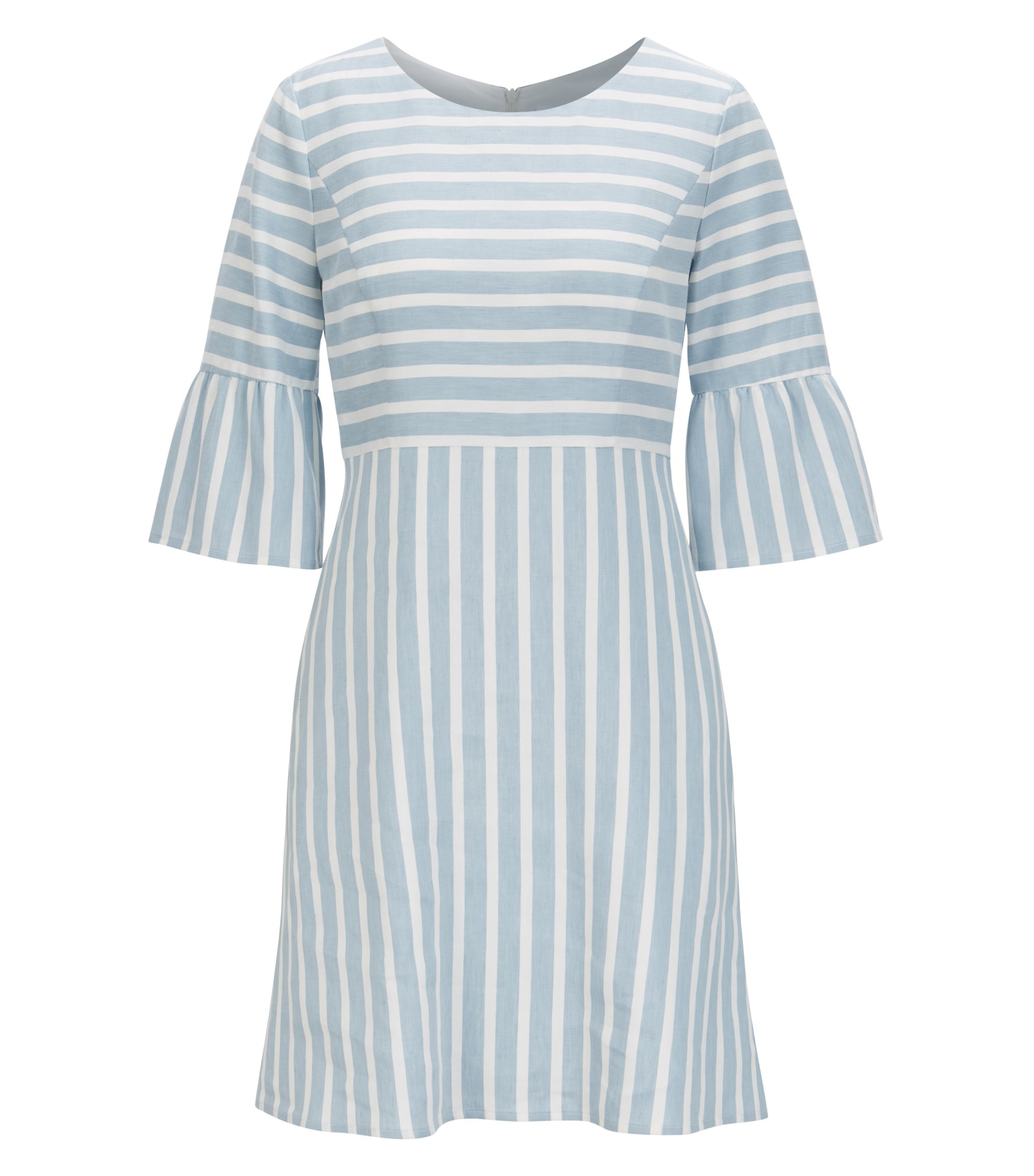 Waisted dress in a striped linen blend, Gemustert
