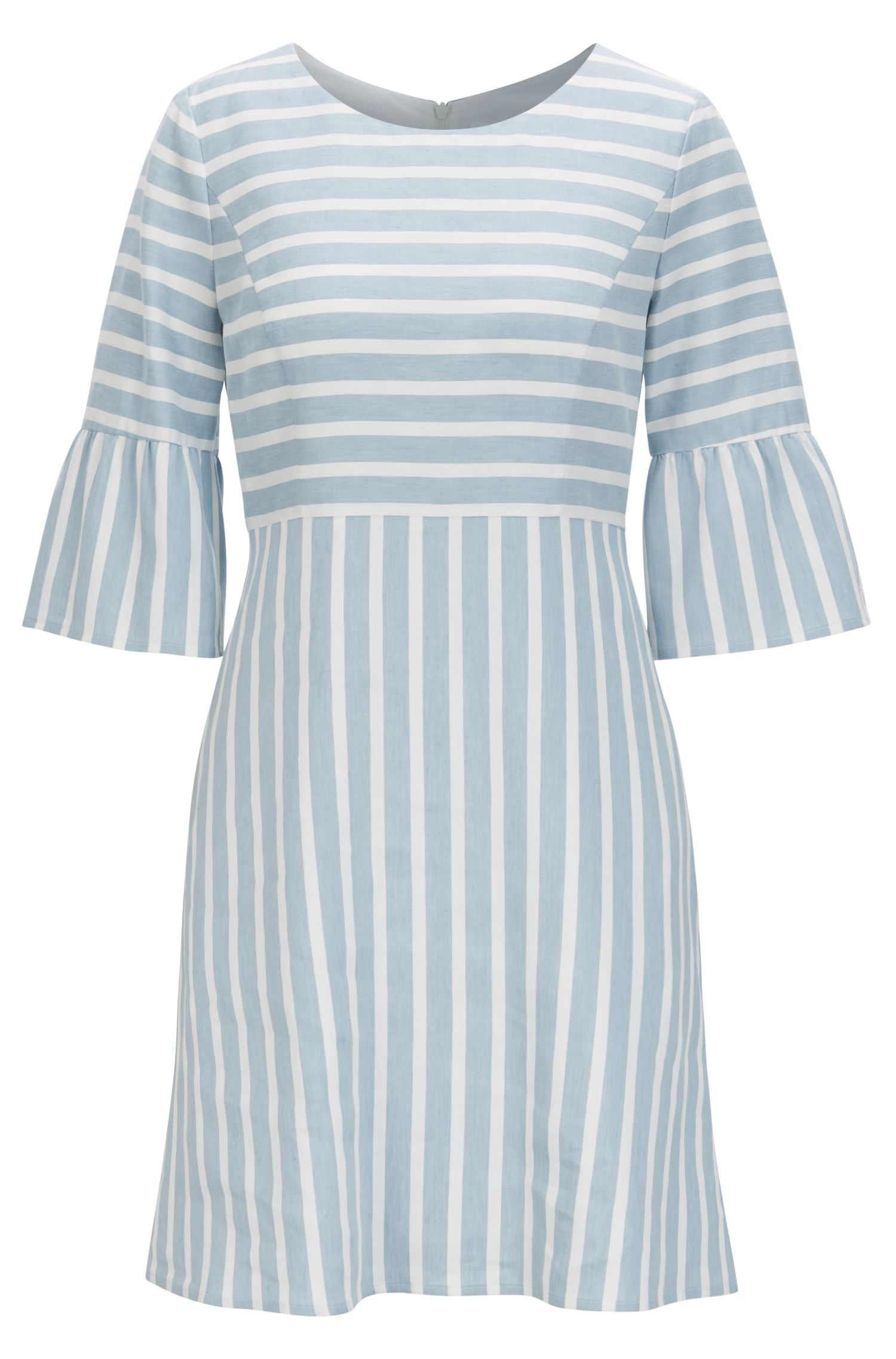 Waisted dress in a striped linen blend