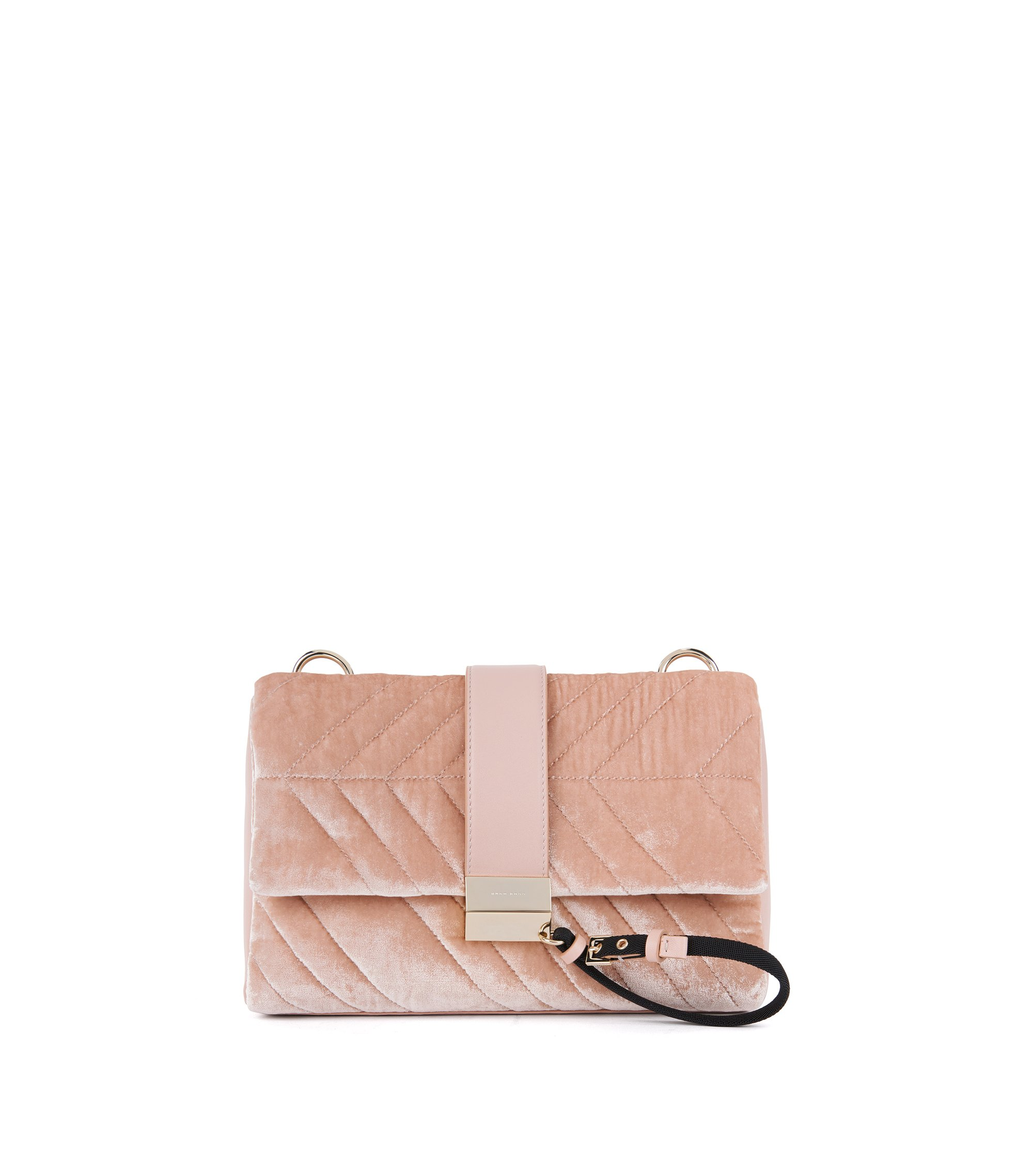 Shoulder bag in Italian velvet, light pink