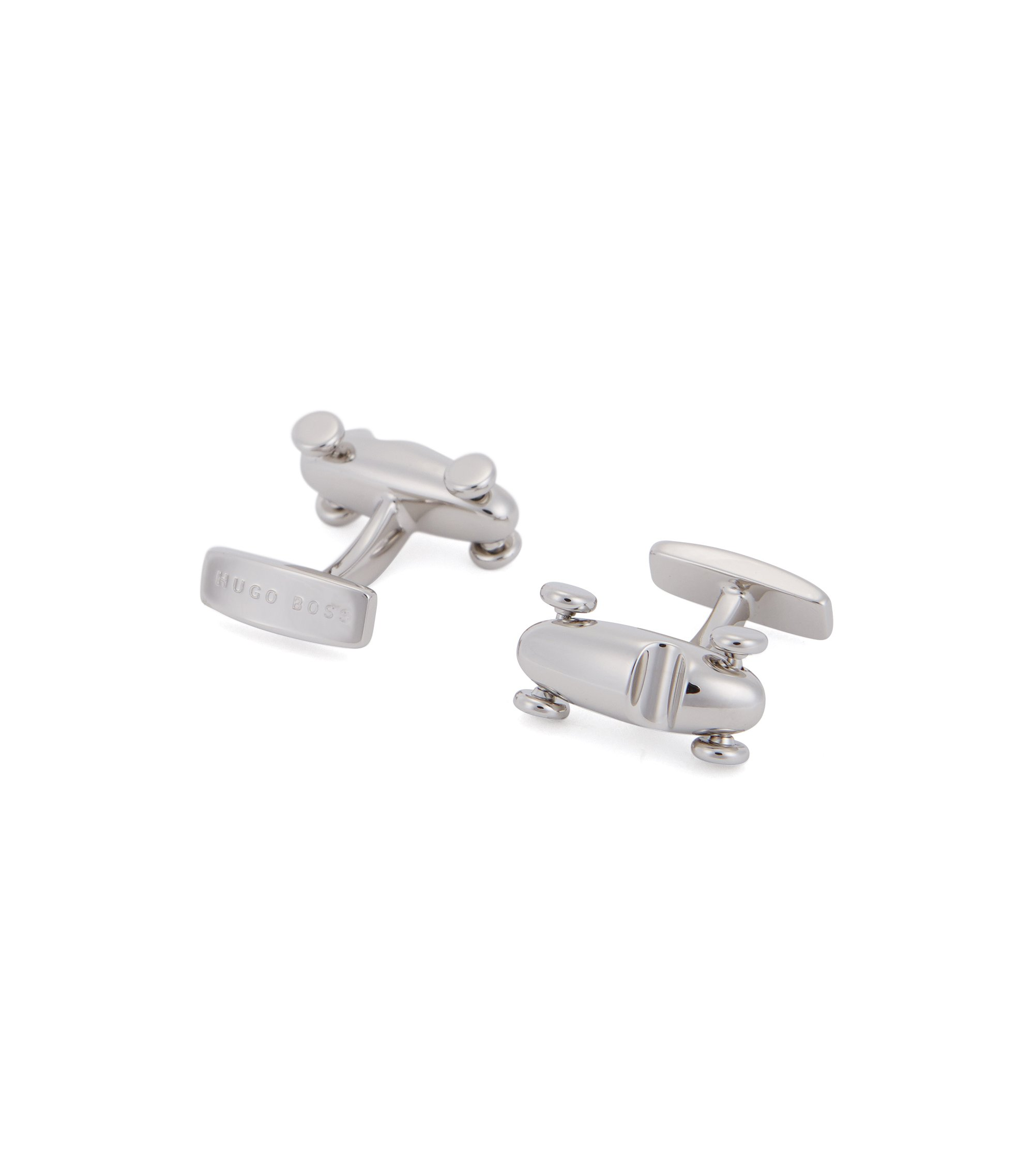 Race car cufflinks in hand-polished brass, Silver