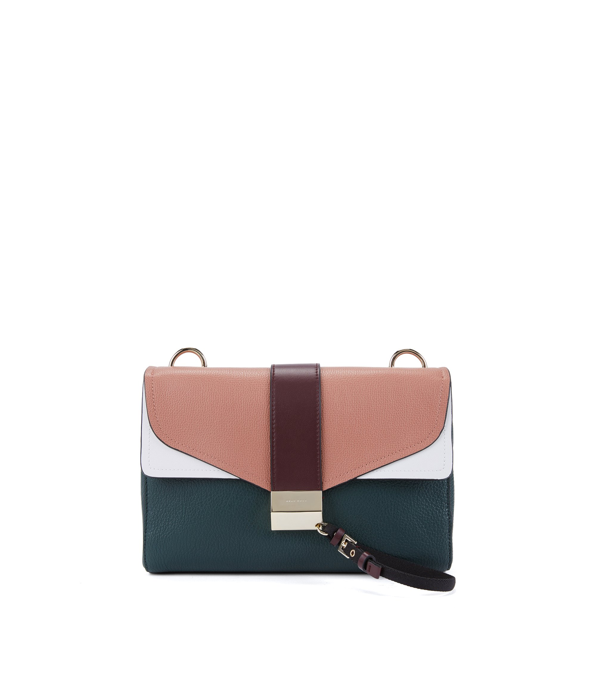 Shoulder bag in mixed Italian leathers, Dark Green