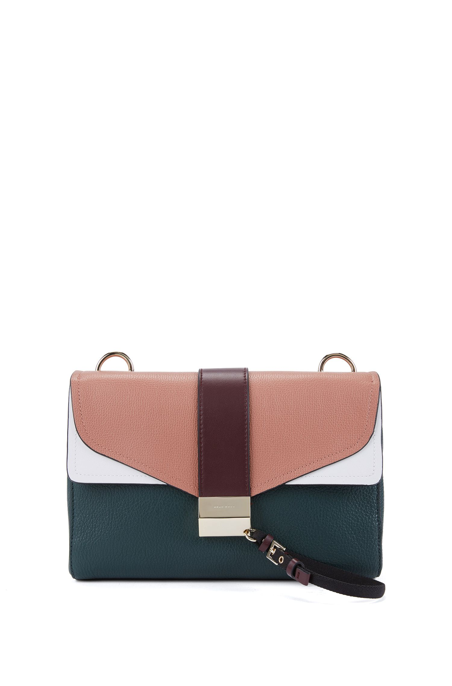 Shoulder bag in mixed Italian leathers