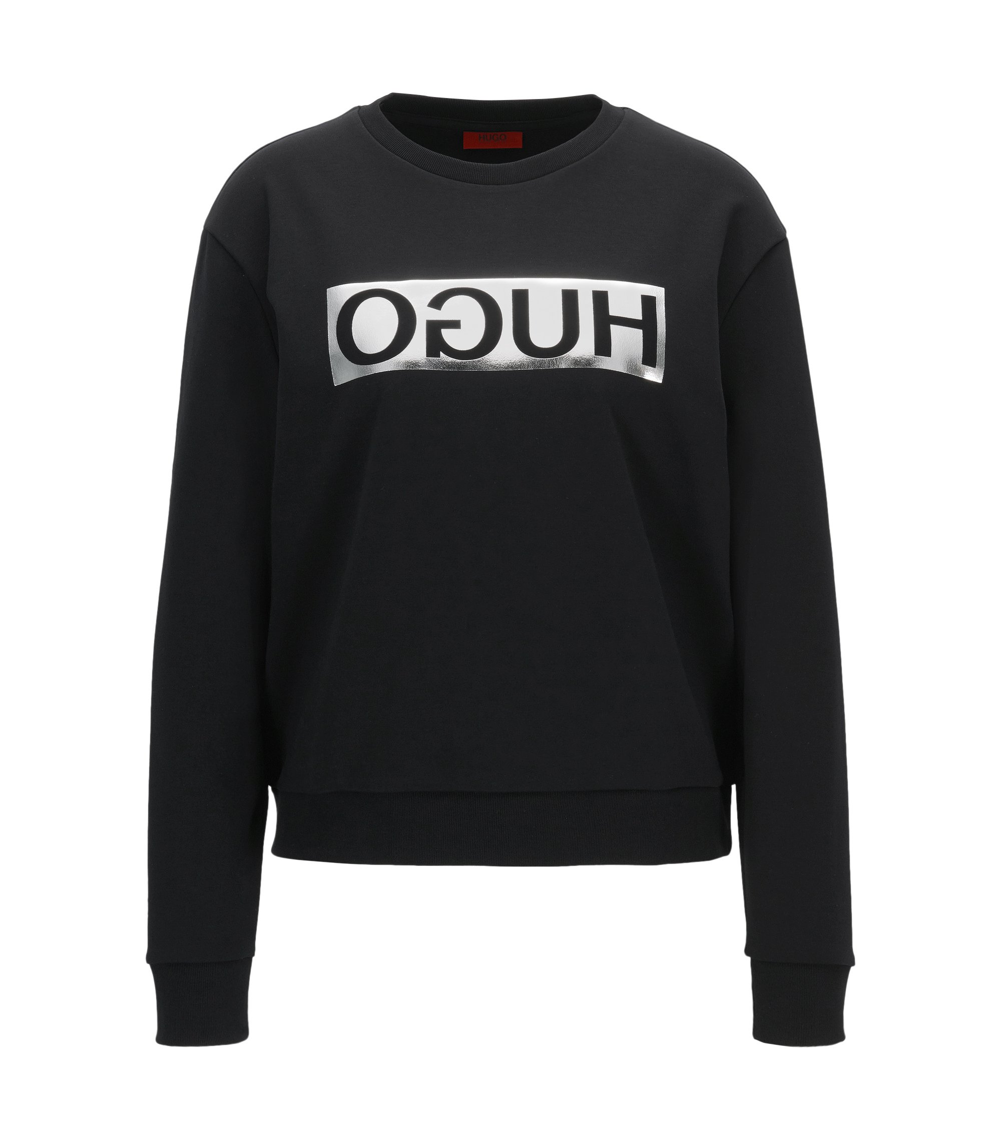 Long-sleeved cotton T-shirt with metallic reversed logo, Black