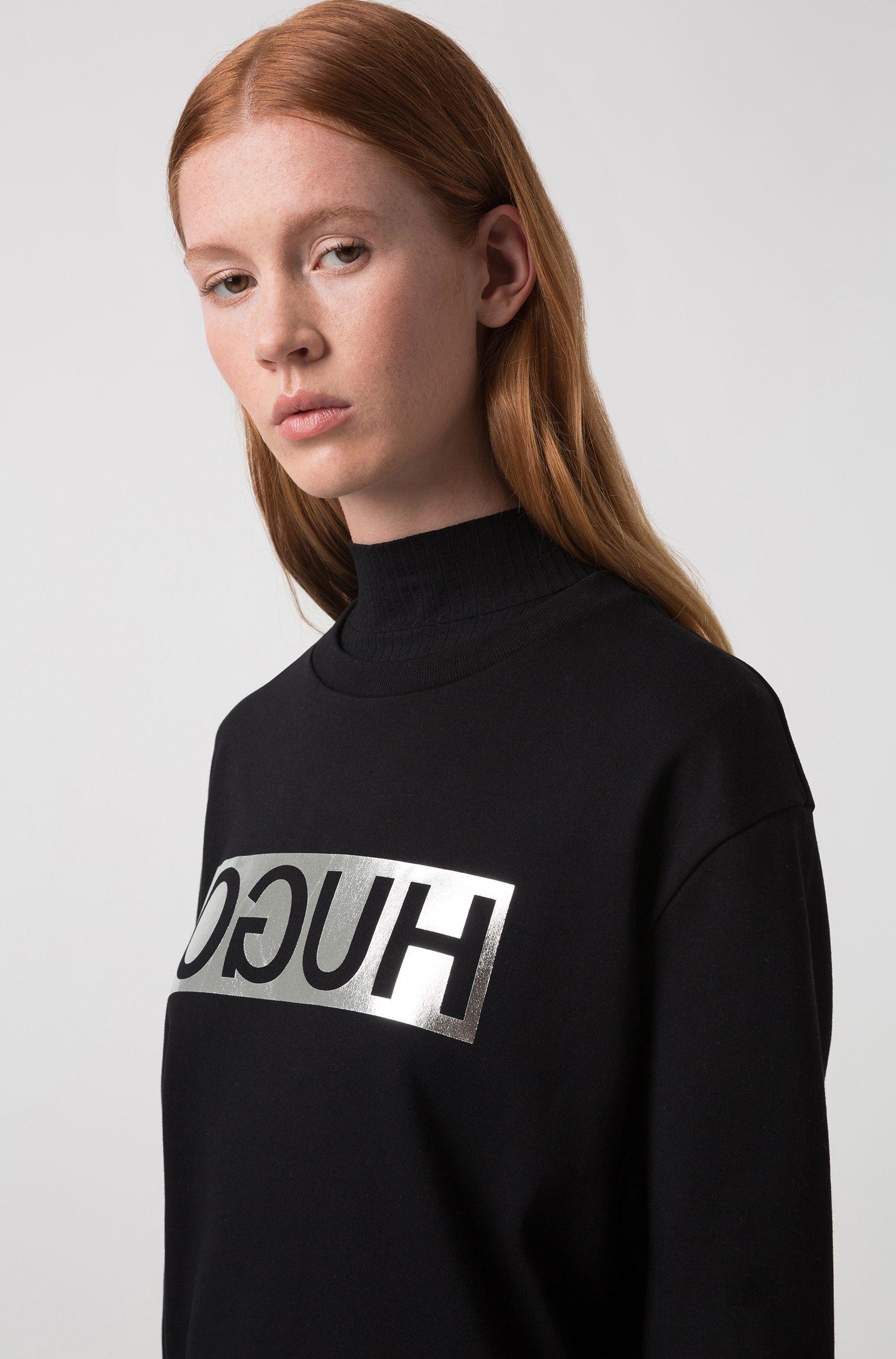 T-shirt in cotone a maniche lunghe con logo a rovescio metallizzato, Nero