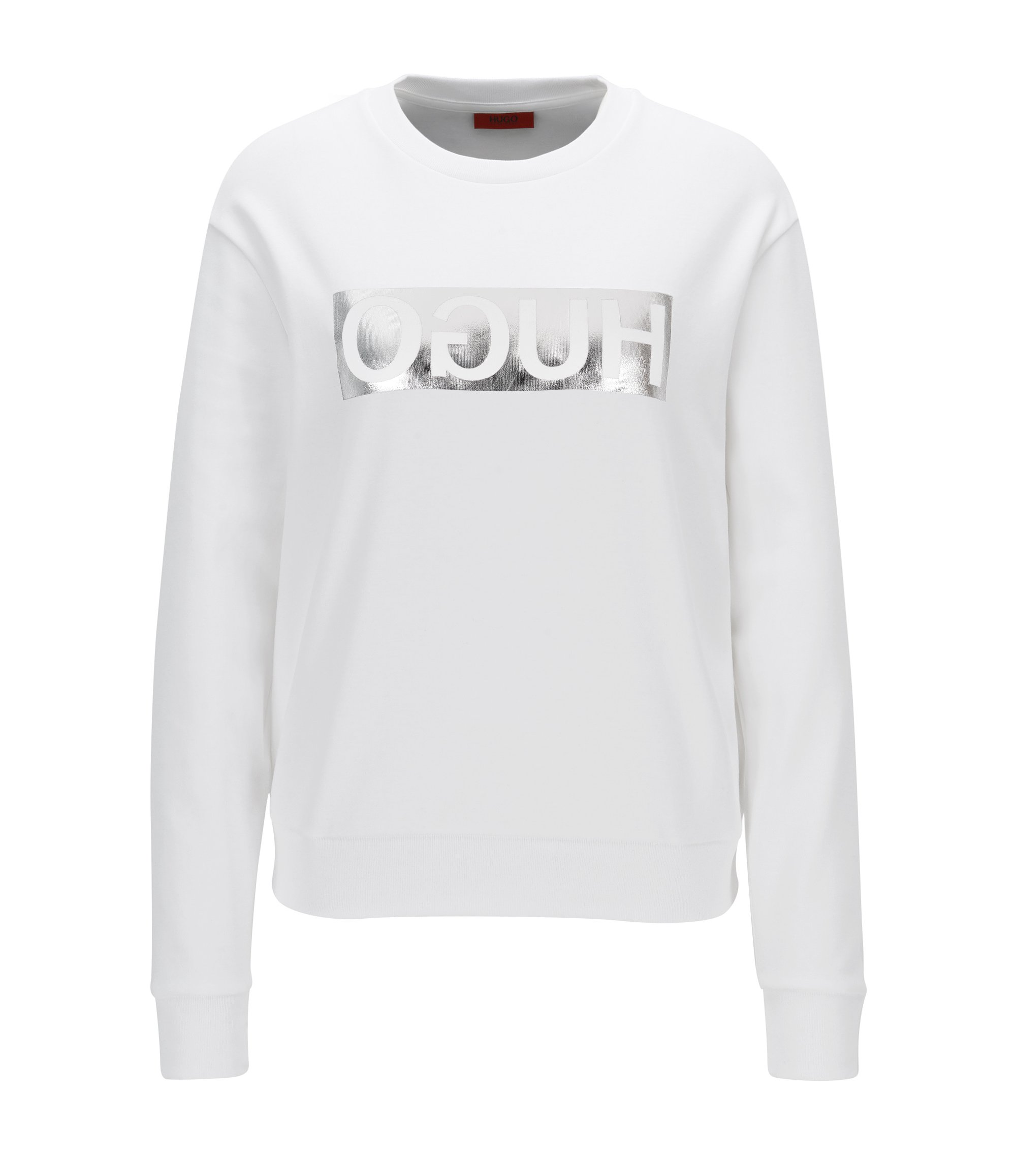 Long-sleeved cotton T-shirt with metallic reversed logo, White