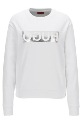 Relaxed-fit long-sleeved reverse-logo cotton T-shirt, Blanc