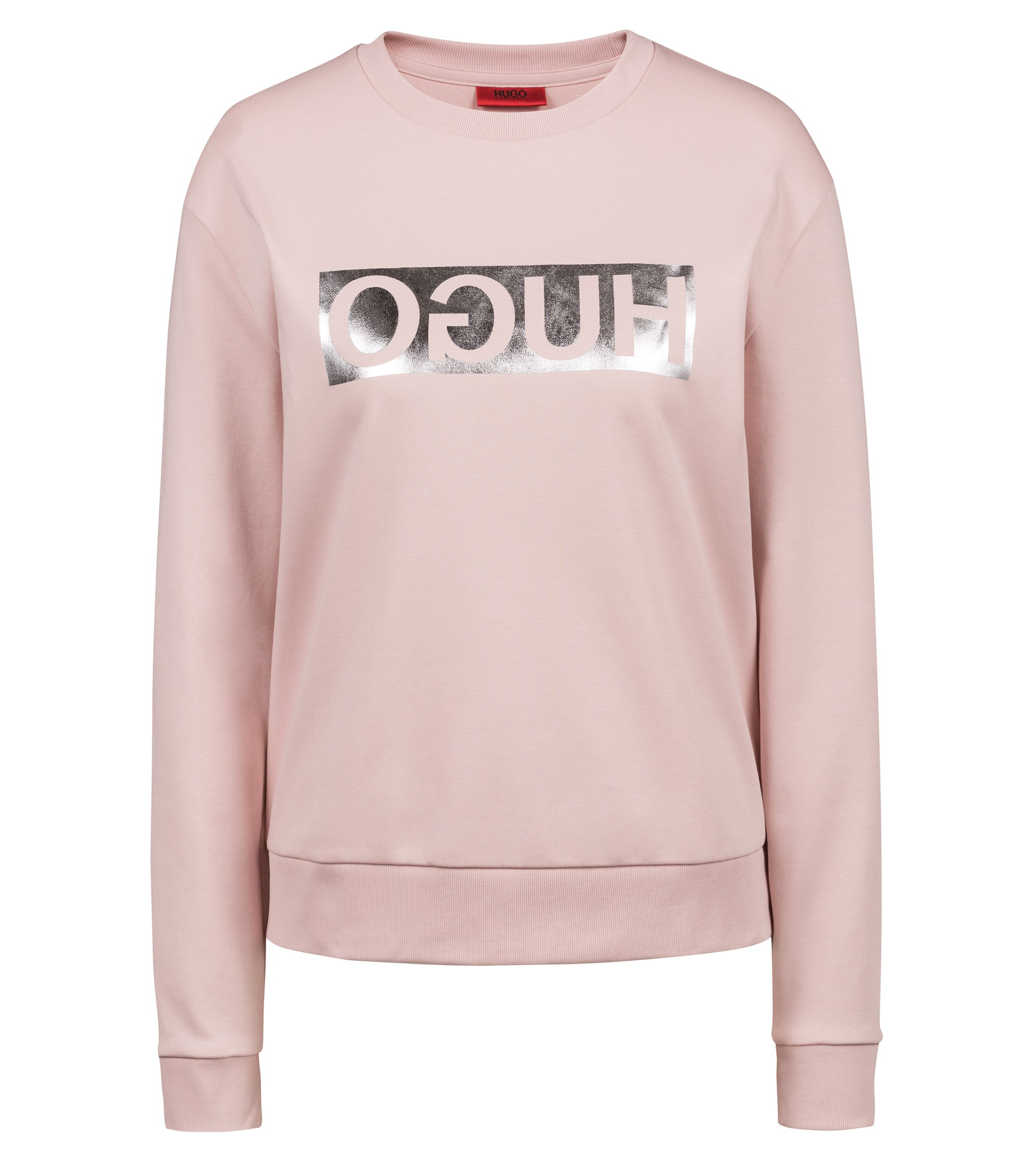 Long-sleeved cotton T-shirt with metallic reversed logo, light pink