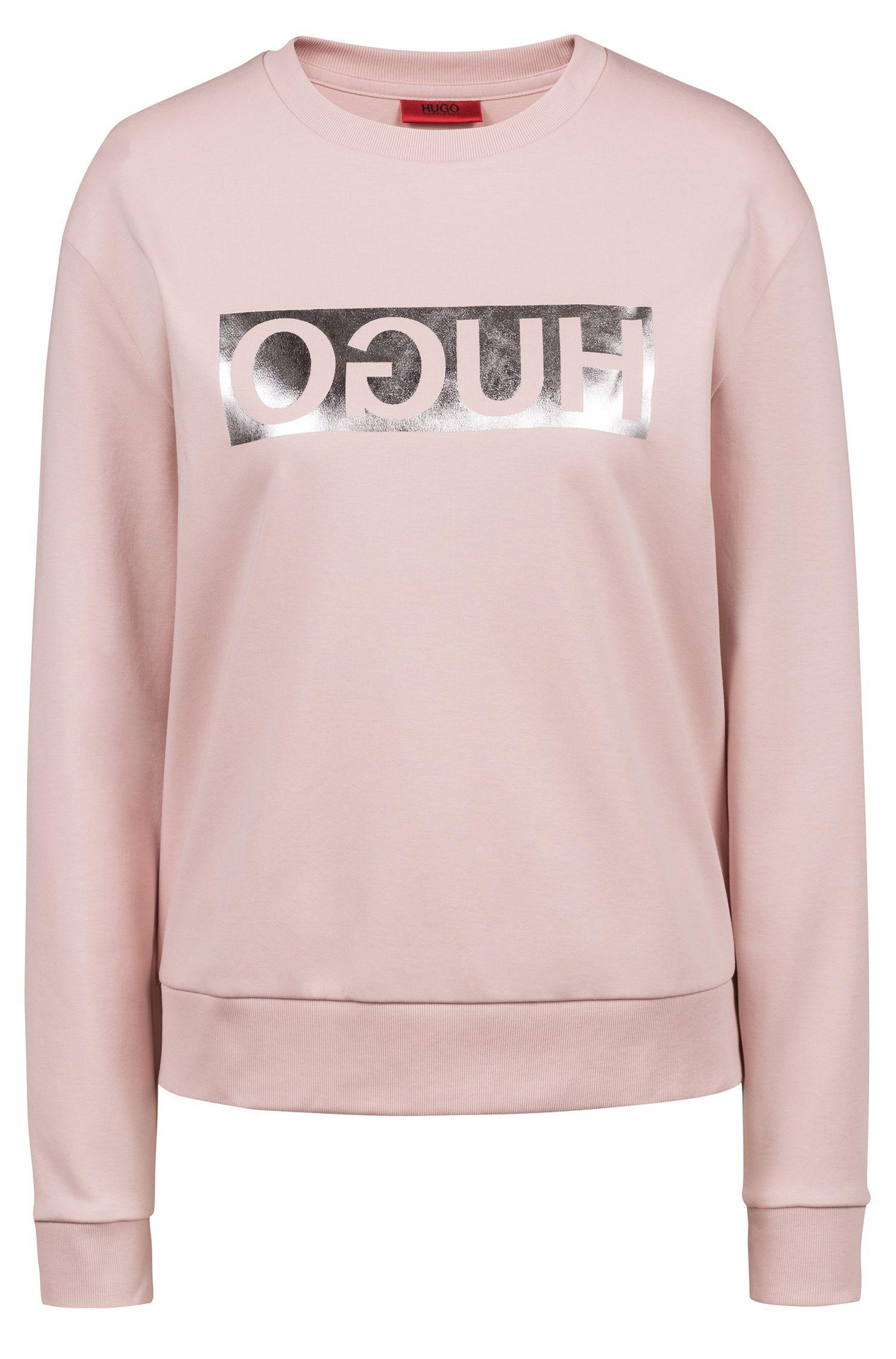 Long-sleeved cotton T-shirt with metallic reversed logo, light pink